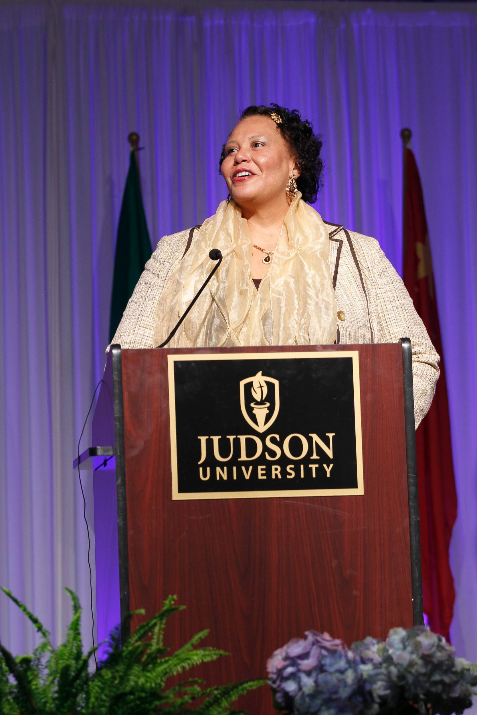 Dr. Risé D. Jones, co-founder of Hamilton Wings, received Judson University's D. Ray Wilson Volunteer Service Award Wednesday. Hamilton Wings is an enrichment program for Elgin area children that uses the arts to promote leadership development and academic readiness of socially and/or economically challenged children.