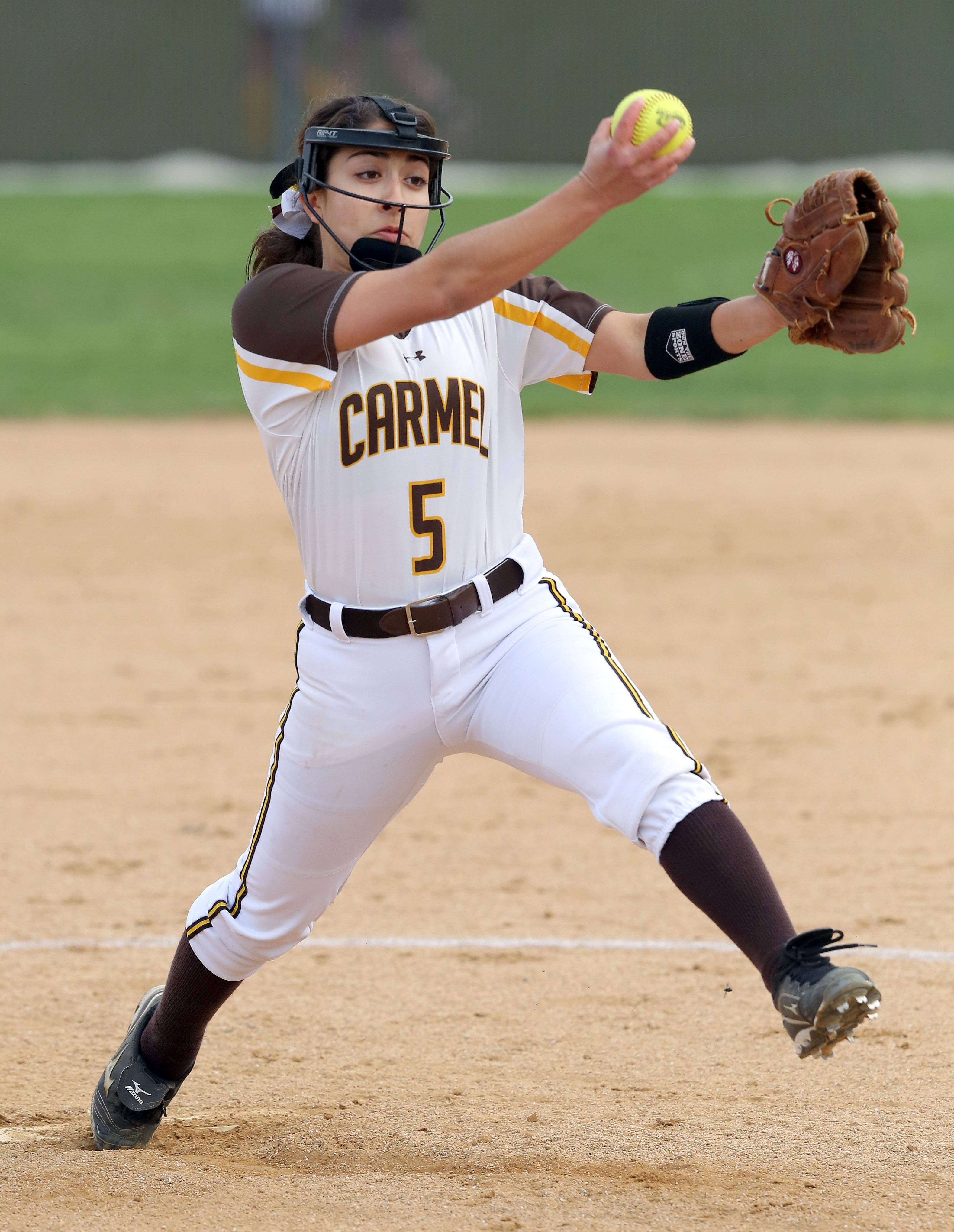 Carmel's Mia Dicara pitches against Nazareth on Wednesday in Mundelein.