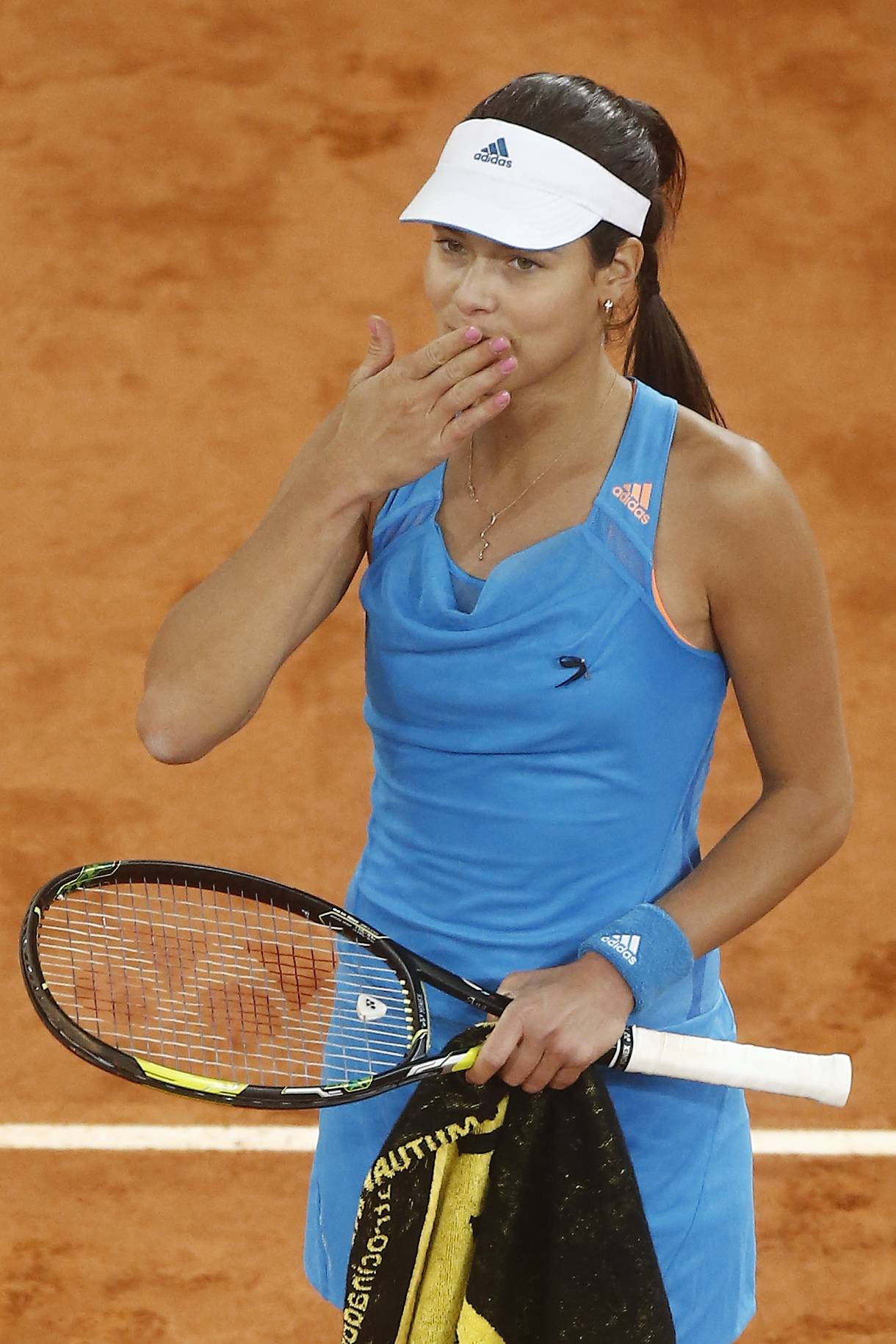 Ana Ivanovic from Serbia celebrates her victory during a Madrid Open tennis tournament match against Bojana Jovanovski from Serbia, in Madrid, Spain, Wednesday, May 7, 2014.