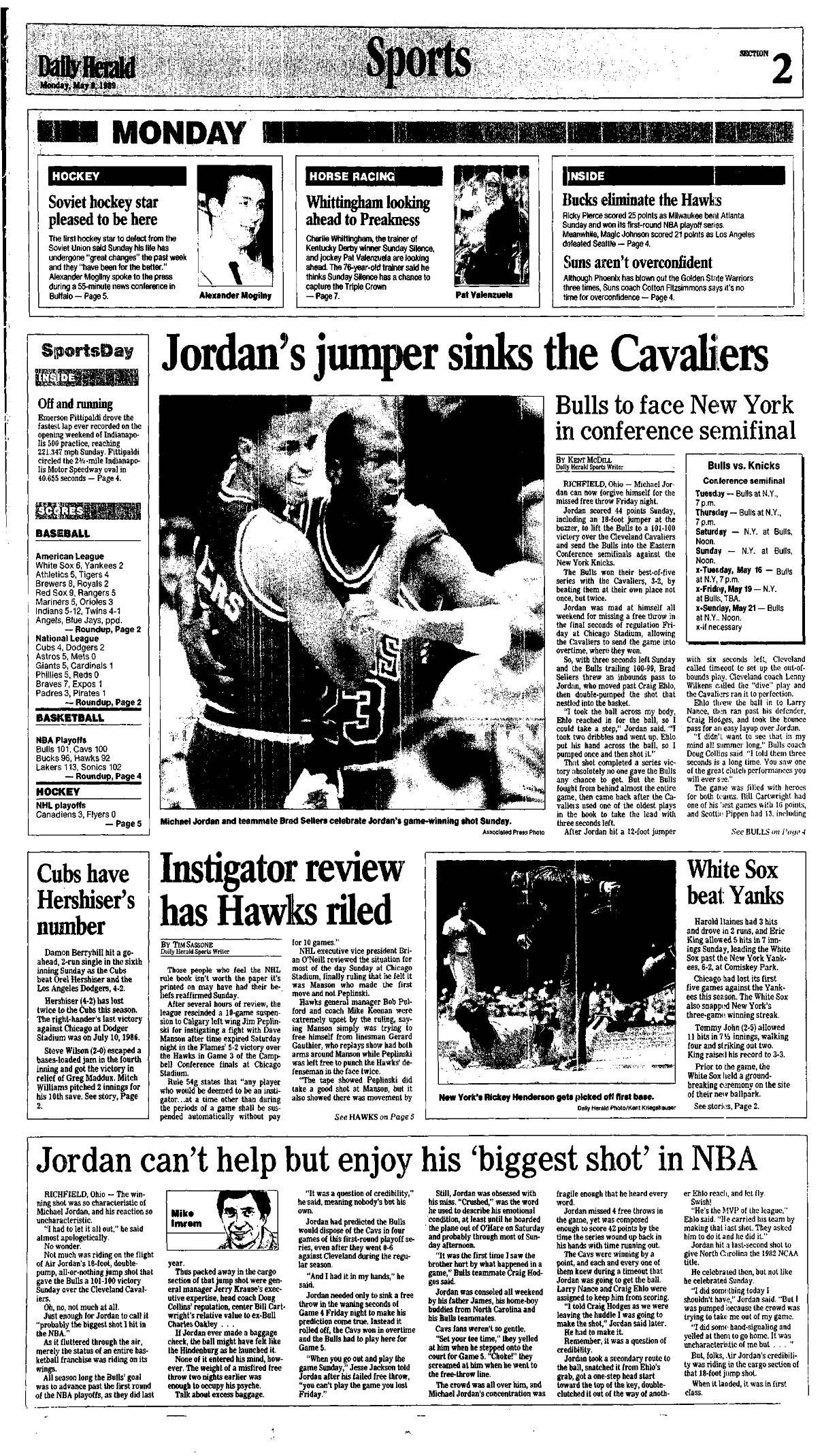"The Daily Herald Sports front the day after Jordan hit ""The Shot."""