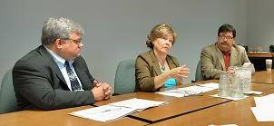 DuPage Mayors and Managers Conference Executive Director Mark Baloga, left, with Roselle Mayor Gayle Smolinski, center, and Hanover Park Mayor Rod Craig at a recent meeting.