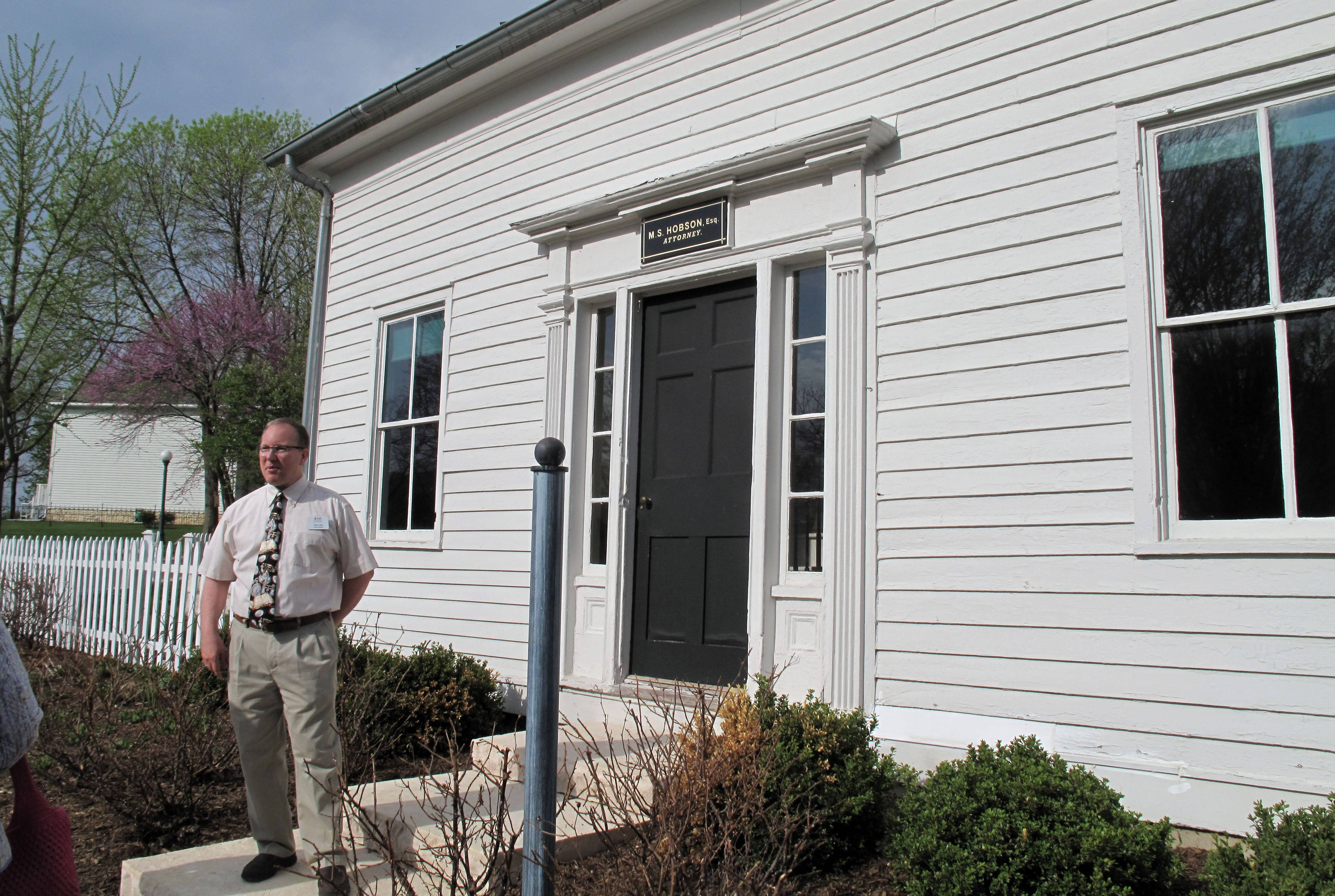 Bryan Ogg, curator of research for Naper Settlement, says this white house on the settlement's property actually was a commercial law office in downtown Naperville, not only a private residence. The settlement rededicated a building Thursday for the first time in 45 years as the Hobson Law Office opened for tours.