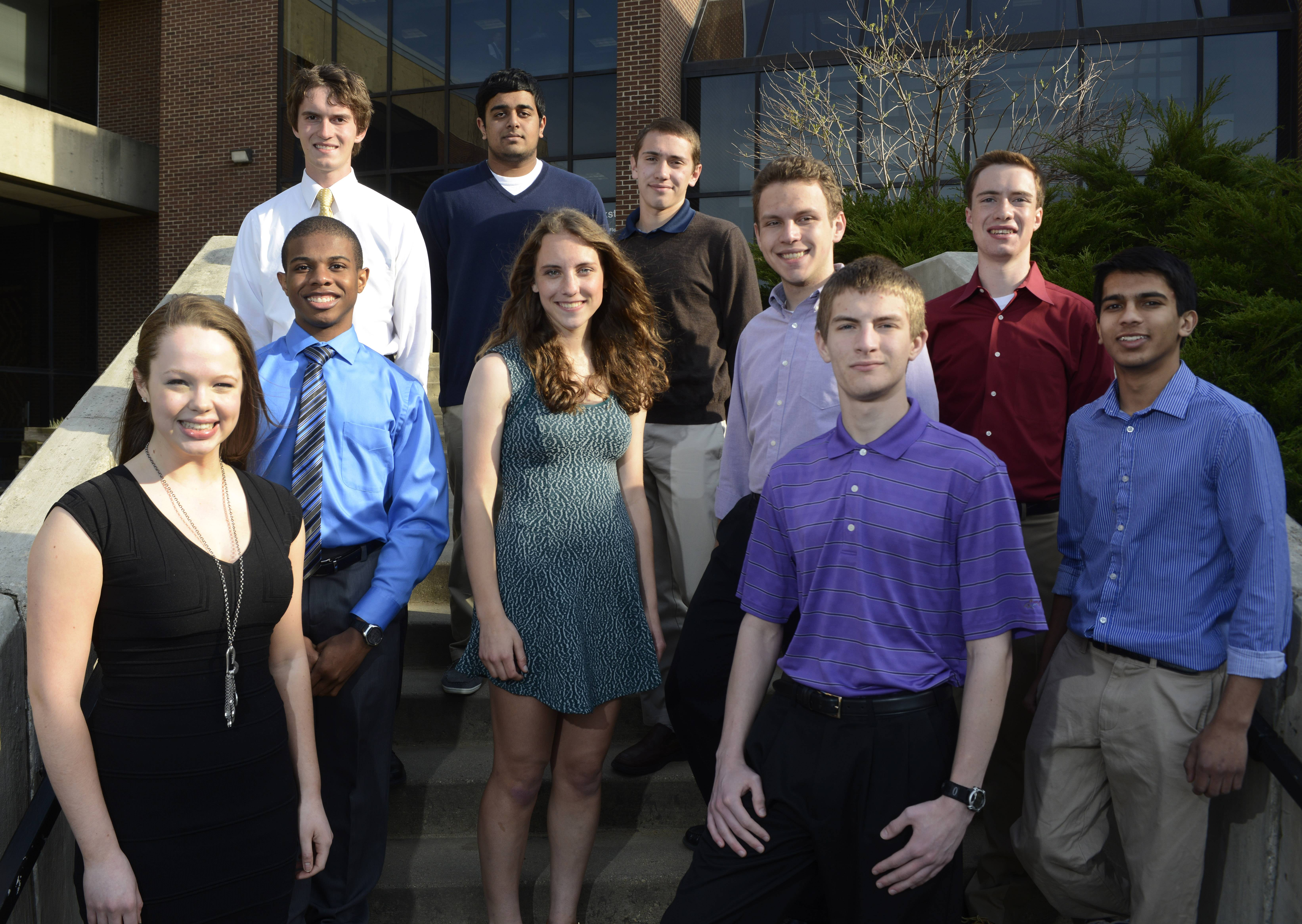 The 2014 Northwest Suburban Academic Team gathers at Harper College. Front row, from left: Emma Heckelsmiller, Palatine High School; Trent Cwiok, Elk Grove High School; and Sohum Chokshi, Conant. Middle row, from left: Paul Lewis, St. Viator, Mary Collins, Rolling Meadows High School; Robert Andrews, Fremd; and Tyler Harris, St. Viator. Back row, from left: Peter Kotecki, Buffalo Grove High School; Milan Patel, Hoffman Estates High School and Matthew Stadnicki, Hersey High School.