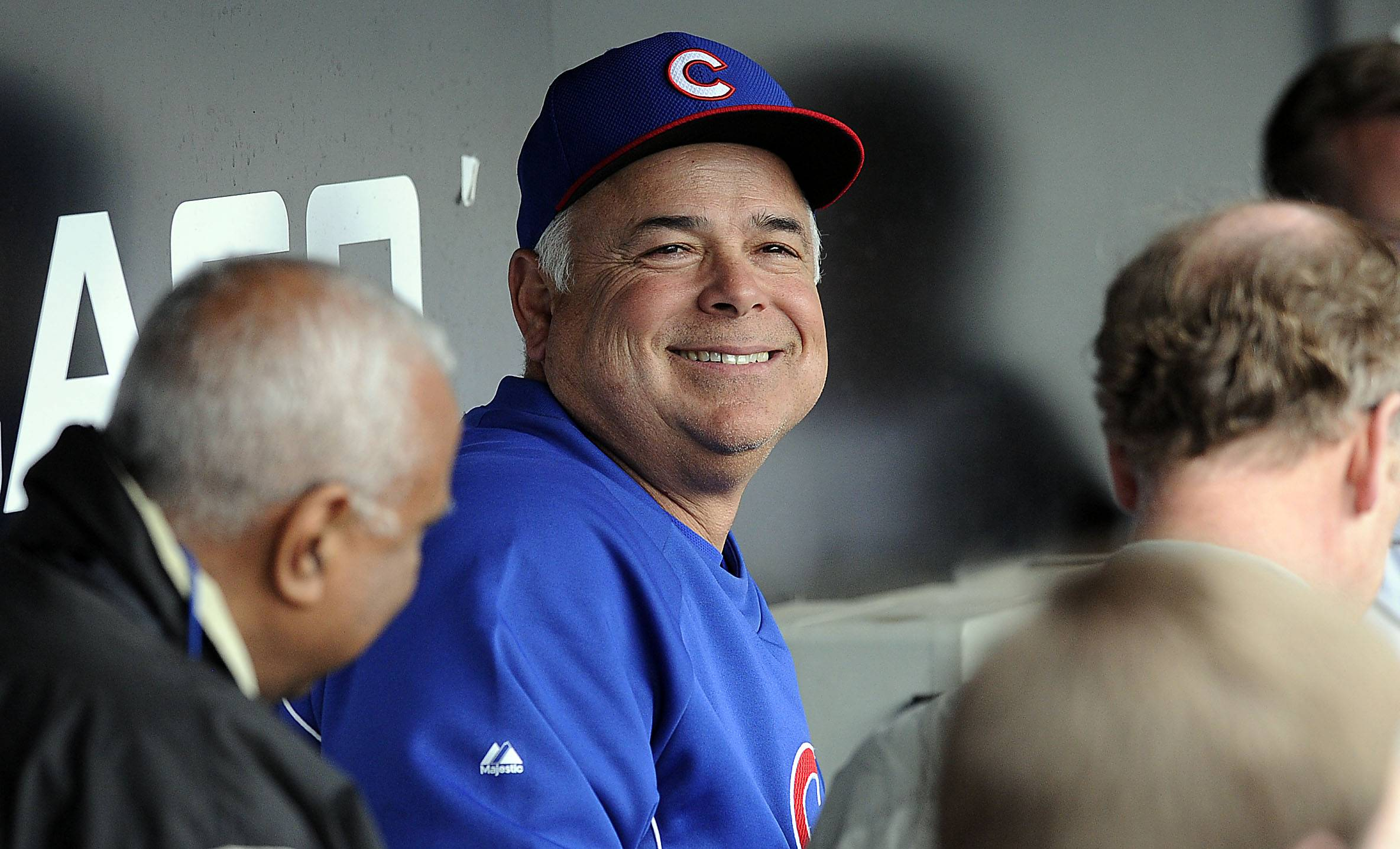 Mark Welsh/mwelsh@dailyherald.comChicago Cubs manager Rick Renteria is all smiles as he talks to the media before the start of game 3 of the White Sox, Chicago Cubs Crosstown Classic.