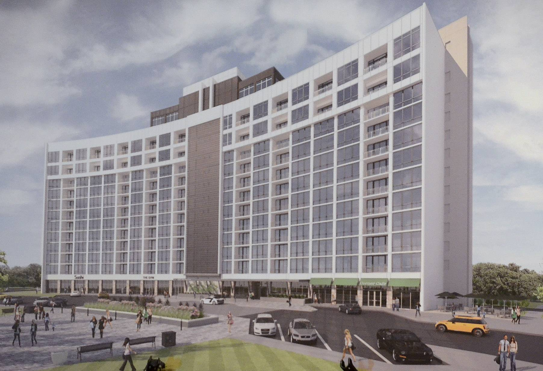 Bob Chwedyk/bchwedyk@dailyherald.comA rendering of One Arlington, a luxury apartment tower planned for Arlington Downs.