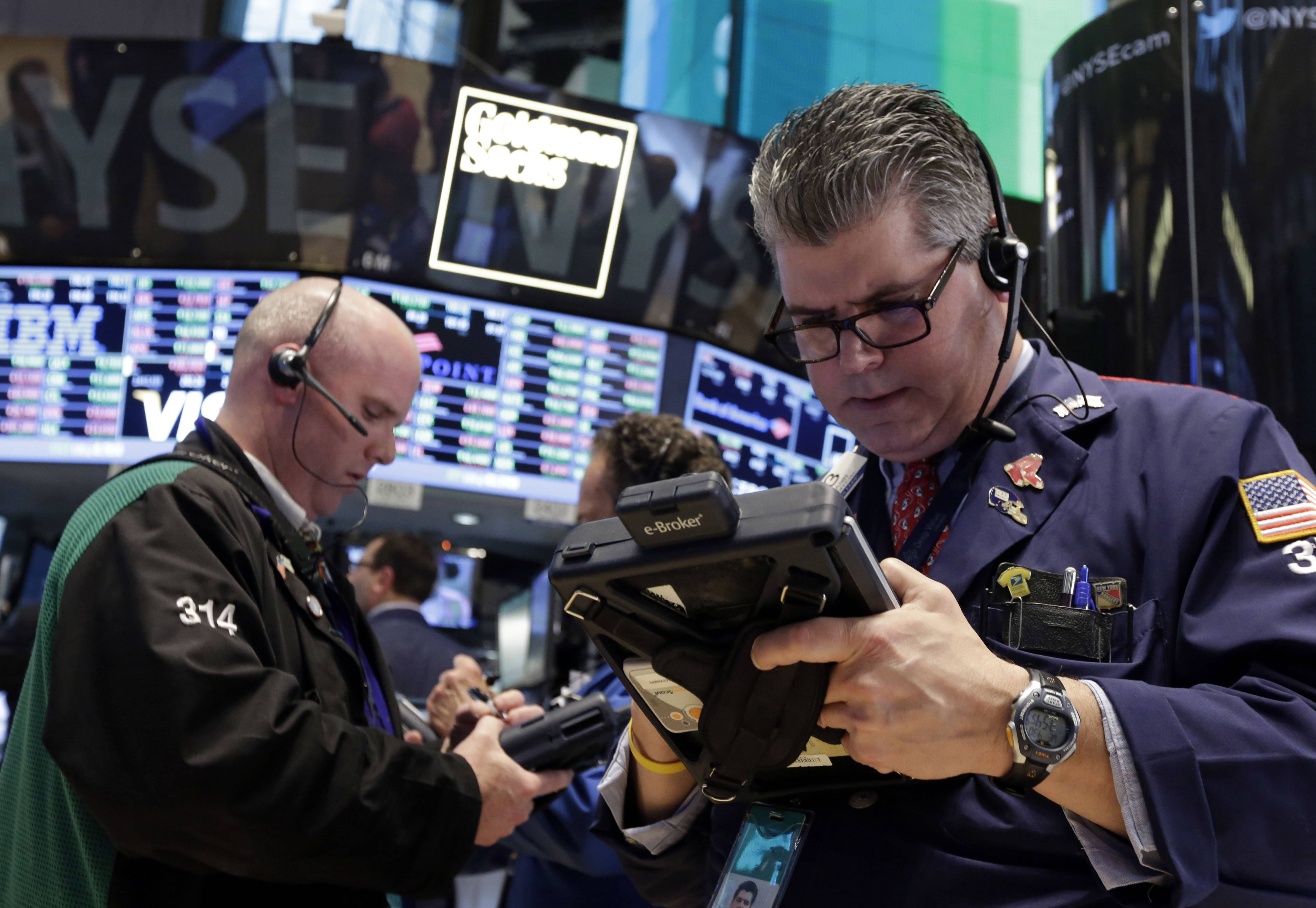 Most U.S. stocks fell Thursday, after the Standard & Poor's 500 Index climbed to within two points of a closing record, as technology shares erased a rally to sell off for a third straight day.