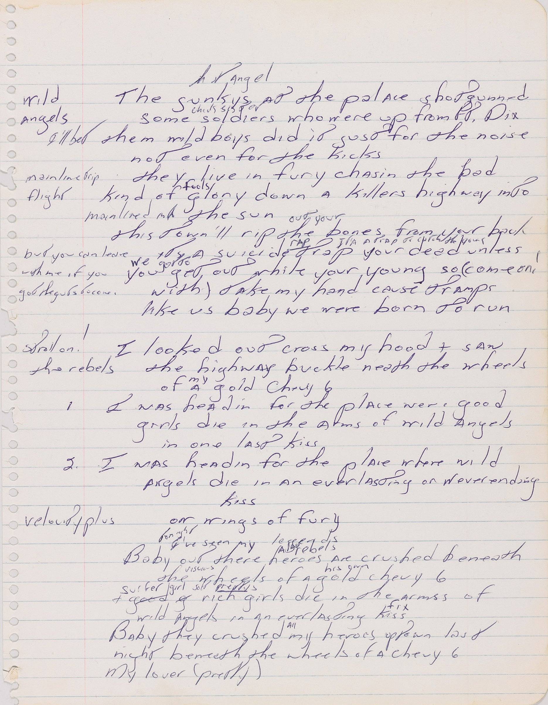An autographed manuscript signed by Bruce Springsteen is shown will be going on display Thursday at Duke University.