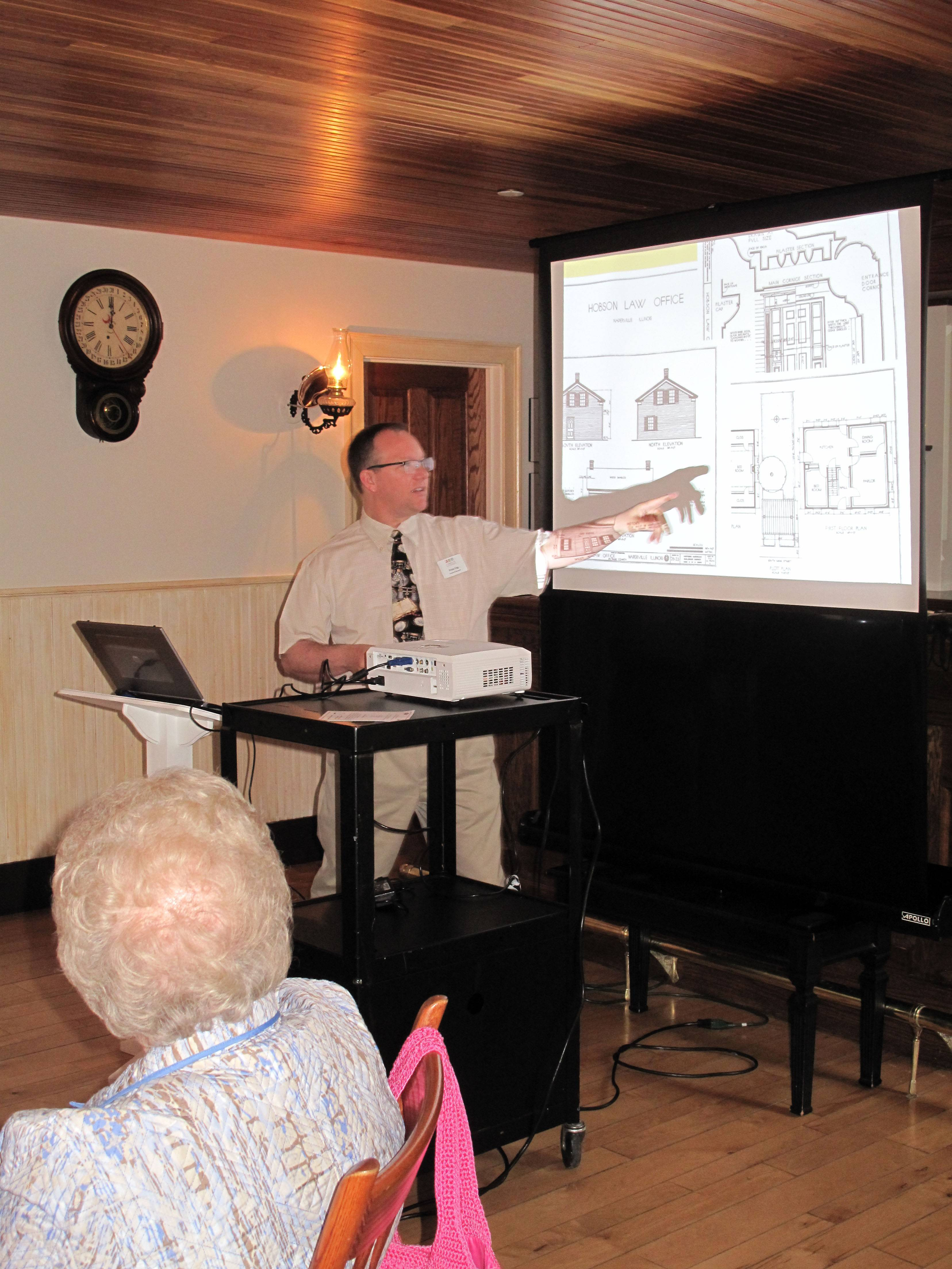 Bryan Ogg, curator of research for Naper Settlement, explains the process of historical research by which he discovered a building on the museum's property had a different purpose than originally thought.