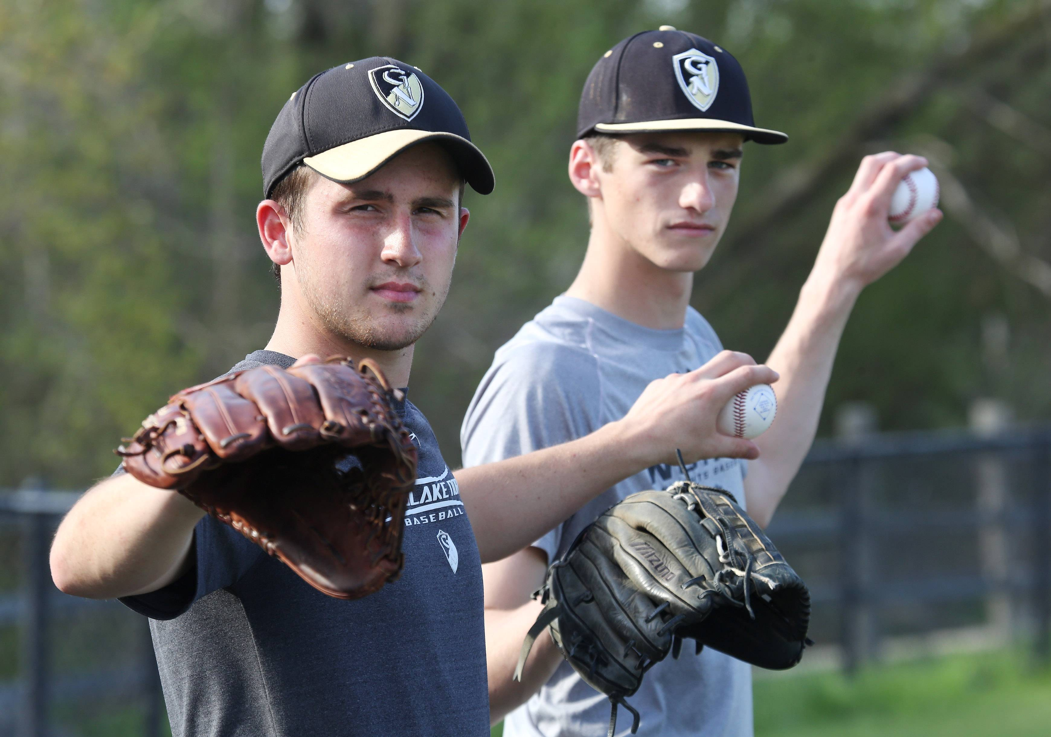 Left-handed pitchers Andrew Mikusa, left, and Domenic DiProva aim to keep their impressive pitching numbers low throughout the spring.