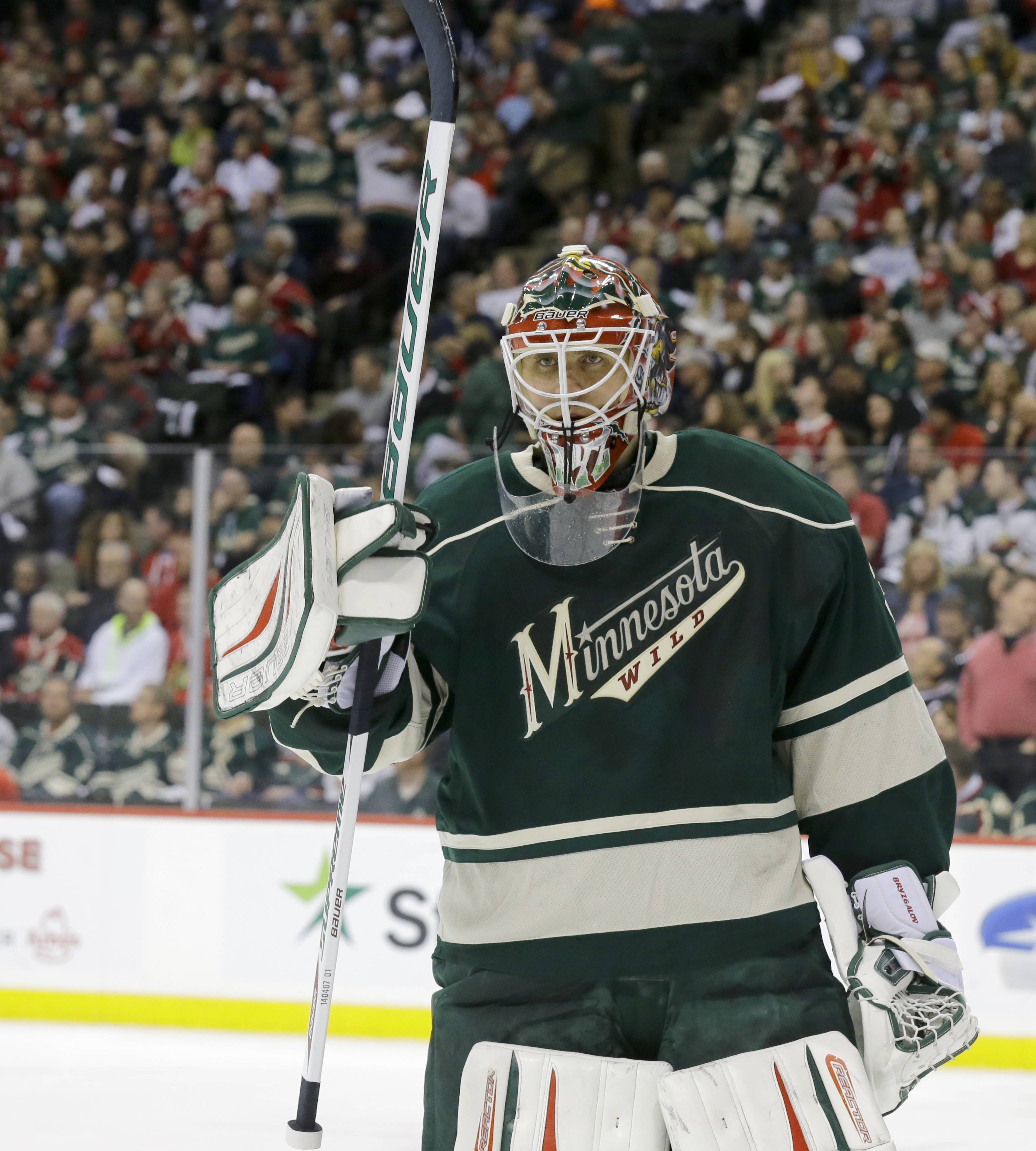 Minnesota Wild goalie Ilya Bryzgalov skates away from the net during a timeout during the second period of Game 3.