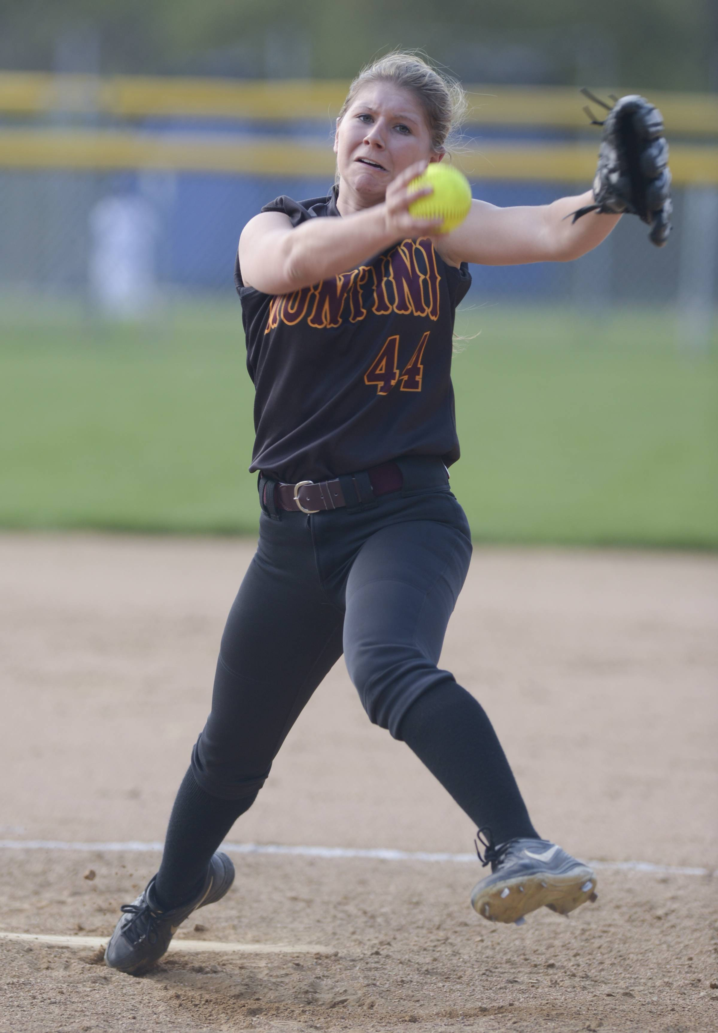 Montini's Lauren Trojnar pitches against St. Francis during softball action in Wheaton Thursday.