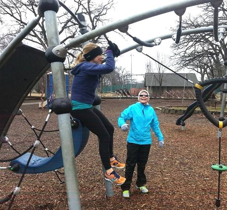 D300 Mud Studs team members in foreground Natalie Shadel, Dundee Middle art teacher, and Nancy Garber, Dundee Middle Language Arts teacher, workout out at Randall Oaks Park in preparation for the district's participation in the upcoming Tough Mudder.