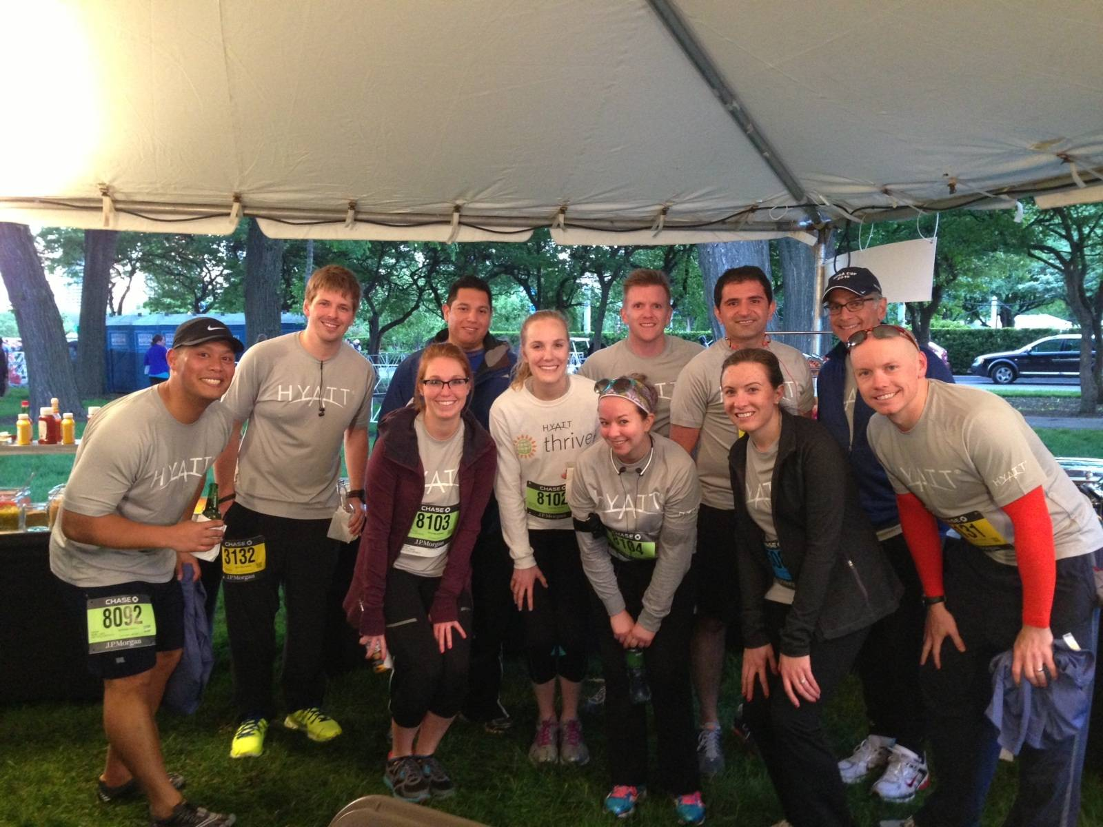 Hyatt team members enjoy the 2013 J.P. Morgan Corporate Challenge in Grant Park.