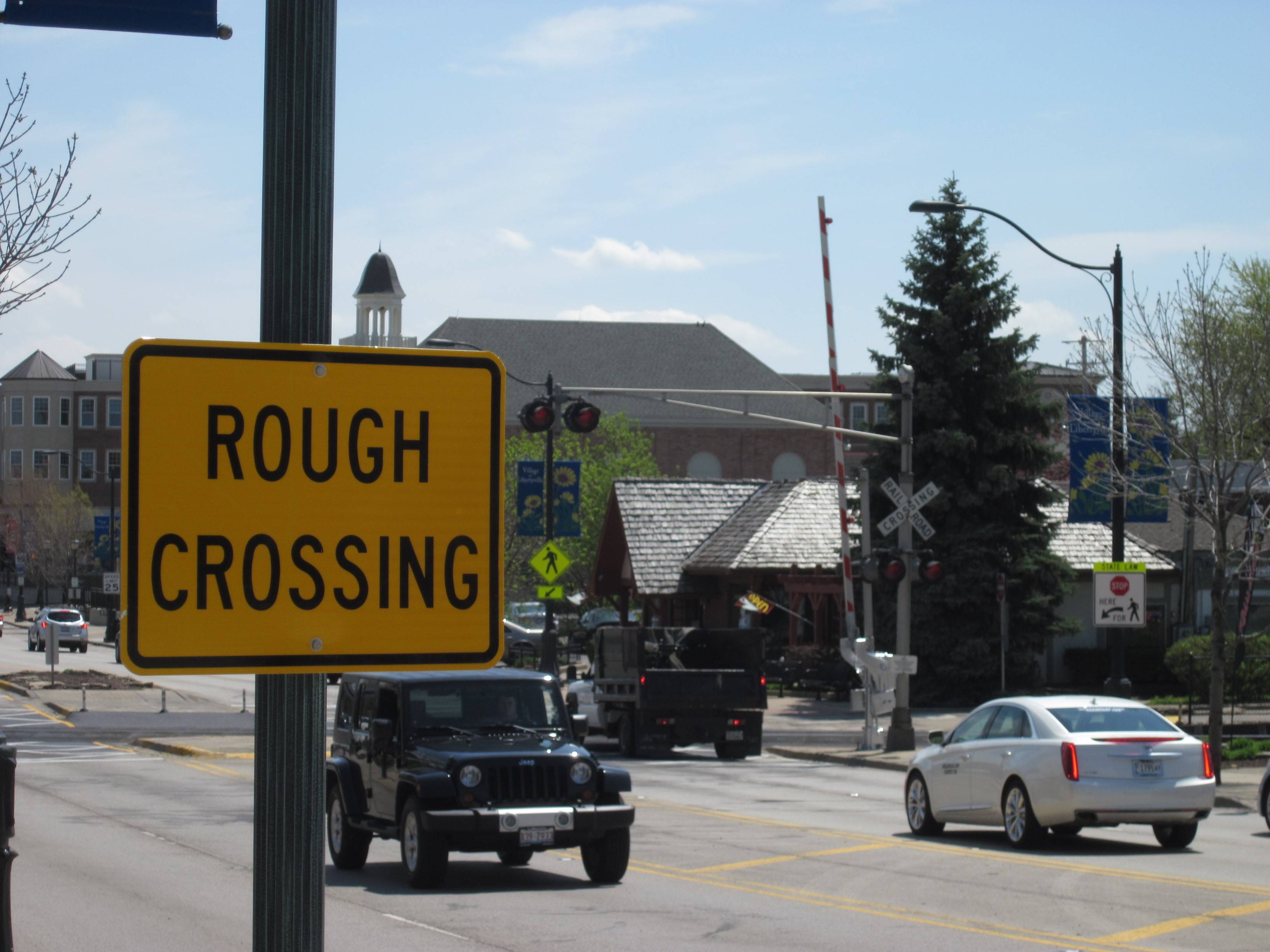 The Metra rail crossing in downtown Libertyville was replaced this past week but drivers have a bumpy ride. The crossing will again be closed beginning Saturday, May 17, to correct the problem.