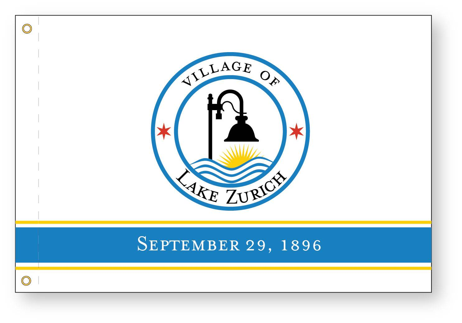 New village seal, logos, flag and slogan for Lake Zurich government