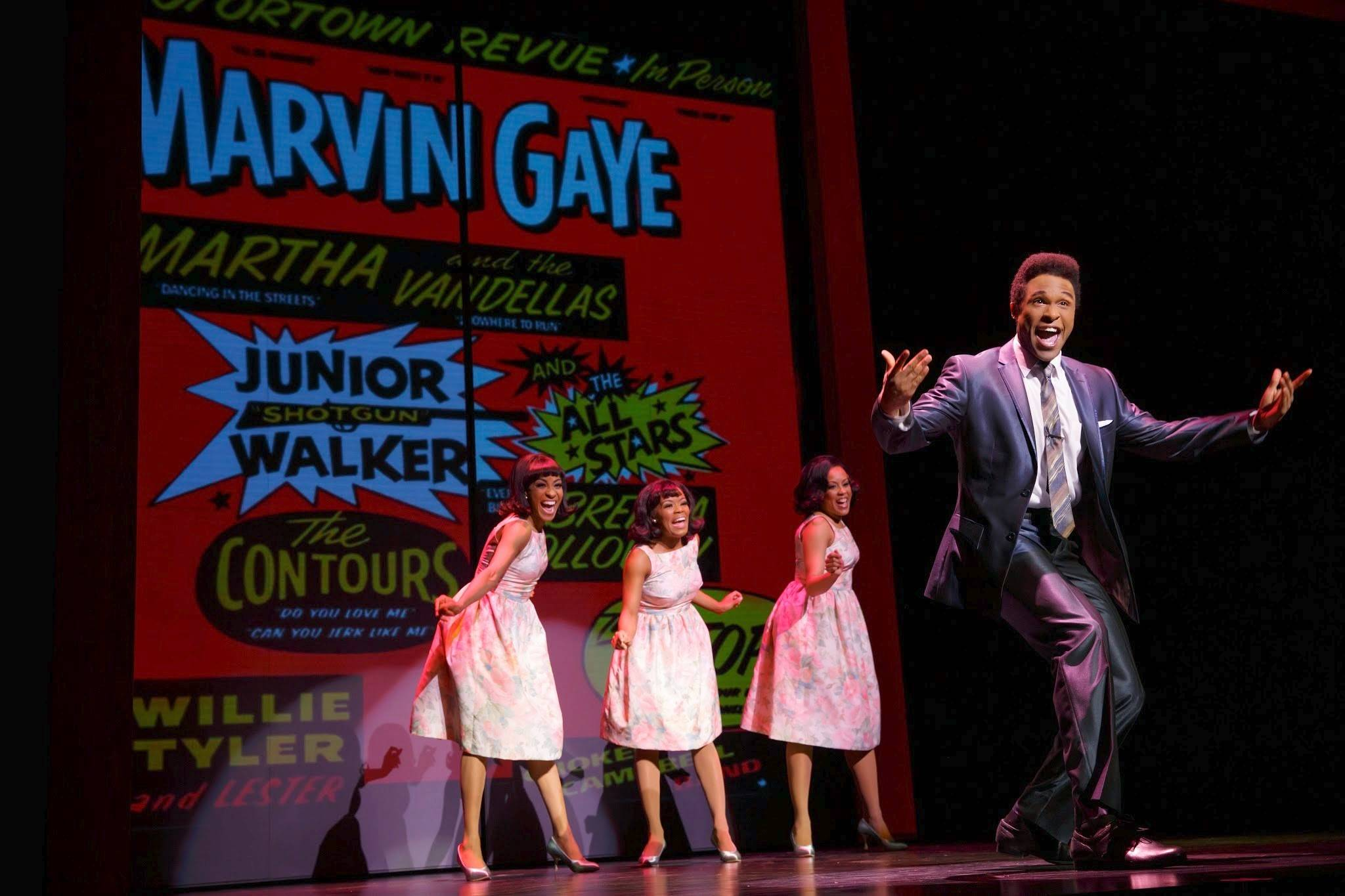 "Jarran Muse stars as Marvin Gaye (backed up by the young Supremes) during a contentious concert engagement in Birmingham, Ala., in the national tour of ""Motown The Musical,"" which plays the Oriental Theatre in Chicago through Saturday, Aug. 9."