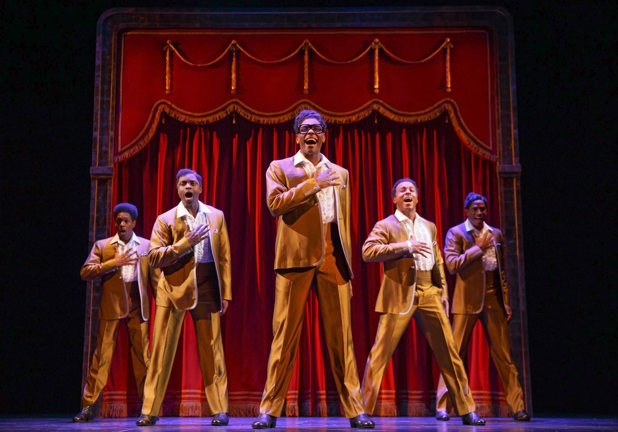 "Performers appearing as The Temptations sing the Smokey Robinson-penned song ""My Girl"" in the national tour of ""Motown The Musical,"" which plays the Oriental Theatre in Chicago through Saturday, Aug. 9."