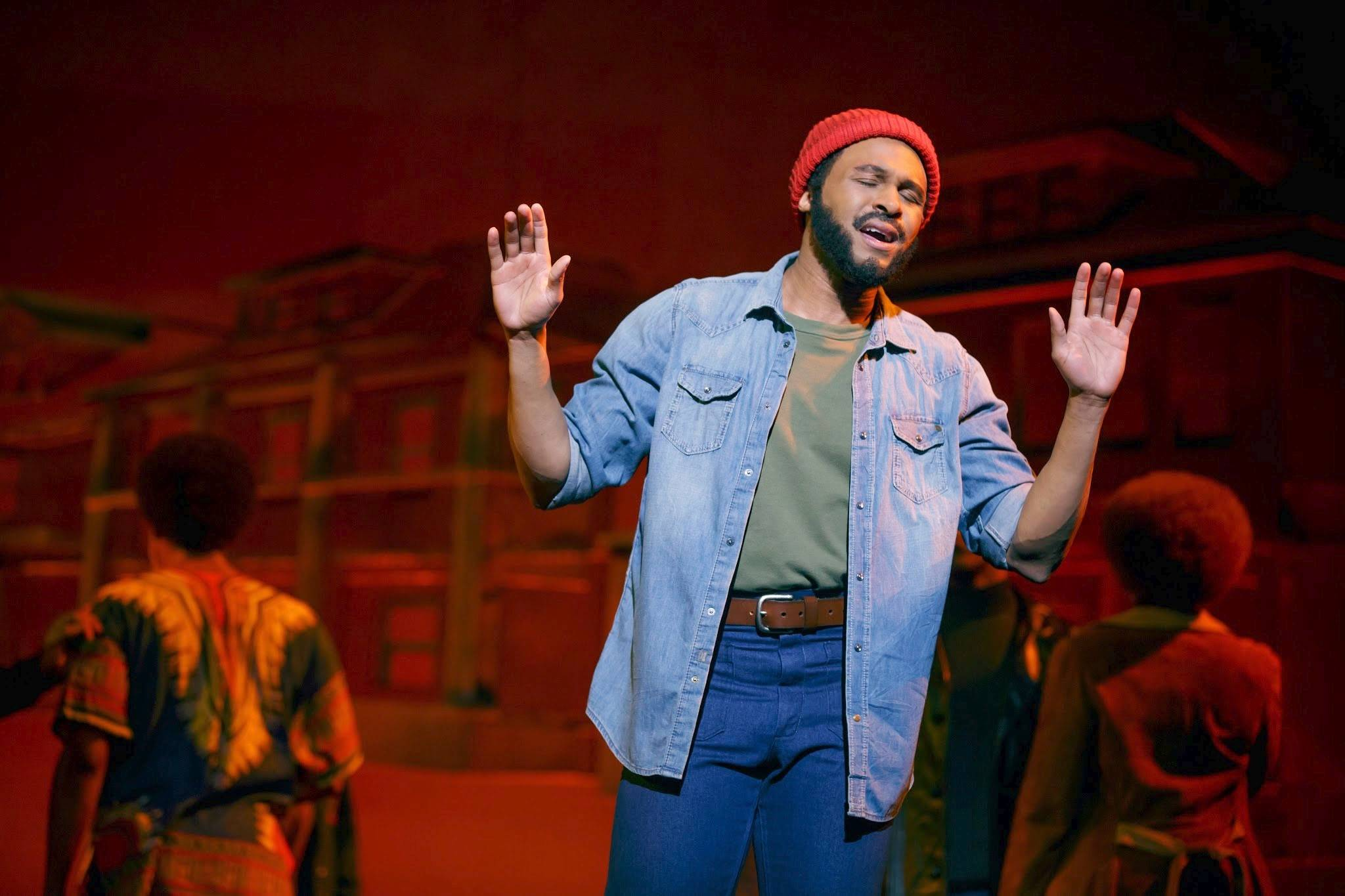 "Marvin Gaye (Jarran Muse) sings the Act I finale ""What's Going On?"" in the national tour of ""Motown The Musical,"" which plays the Oriental Theatre in Chicago through Saturday, Aug. 9."