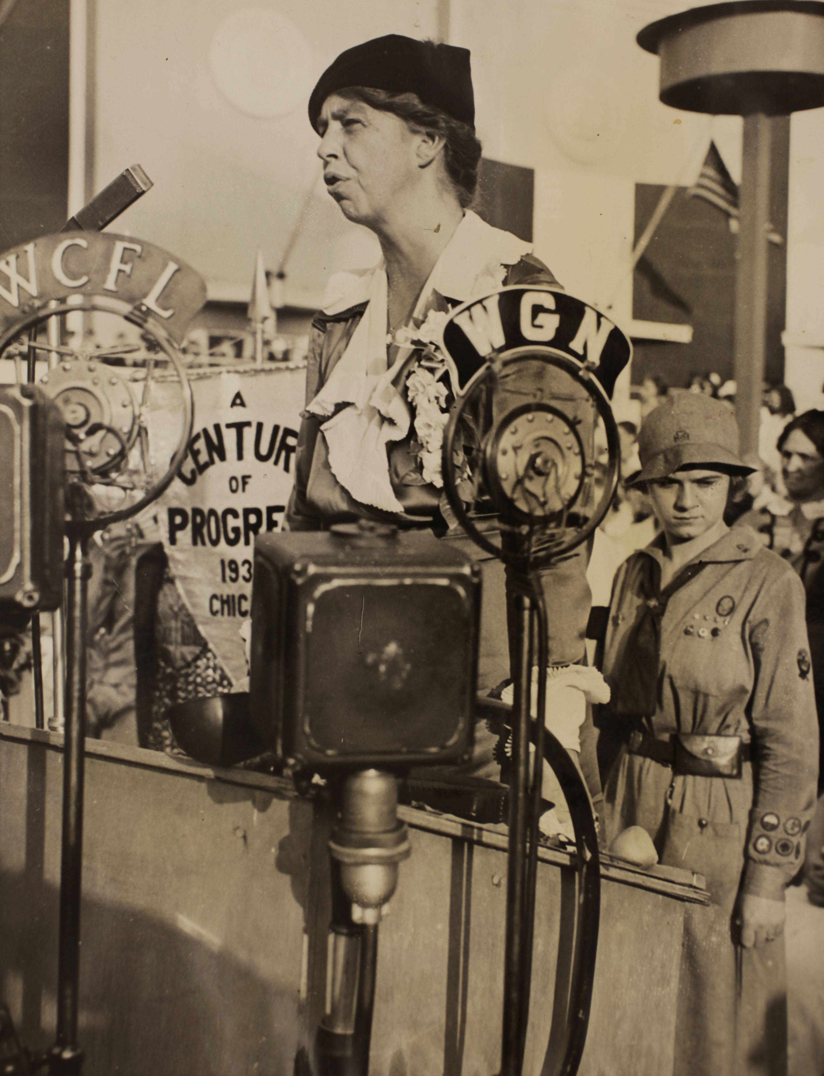 "Eleanor Roosevelt speaks during Women's Day at the World's Fair in Chicago in 1933. PBS announced Thursday its fall season will open with the seven-part Ken Burns' documentary, ""The Roosevelts: An Intimate History."""