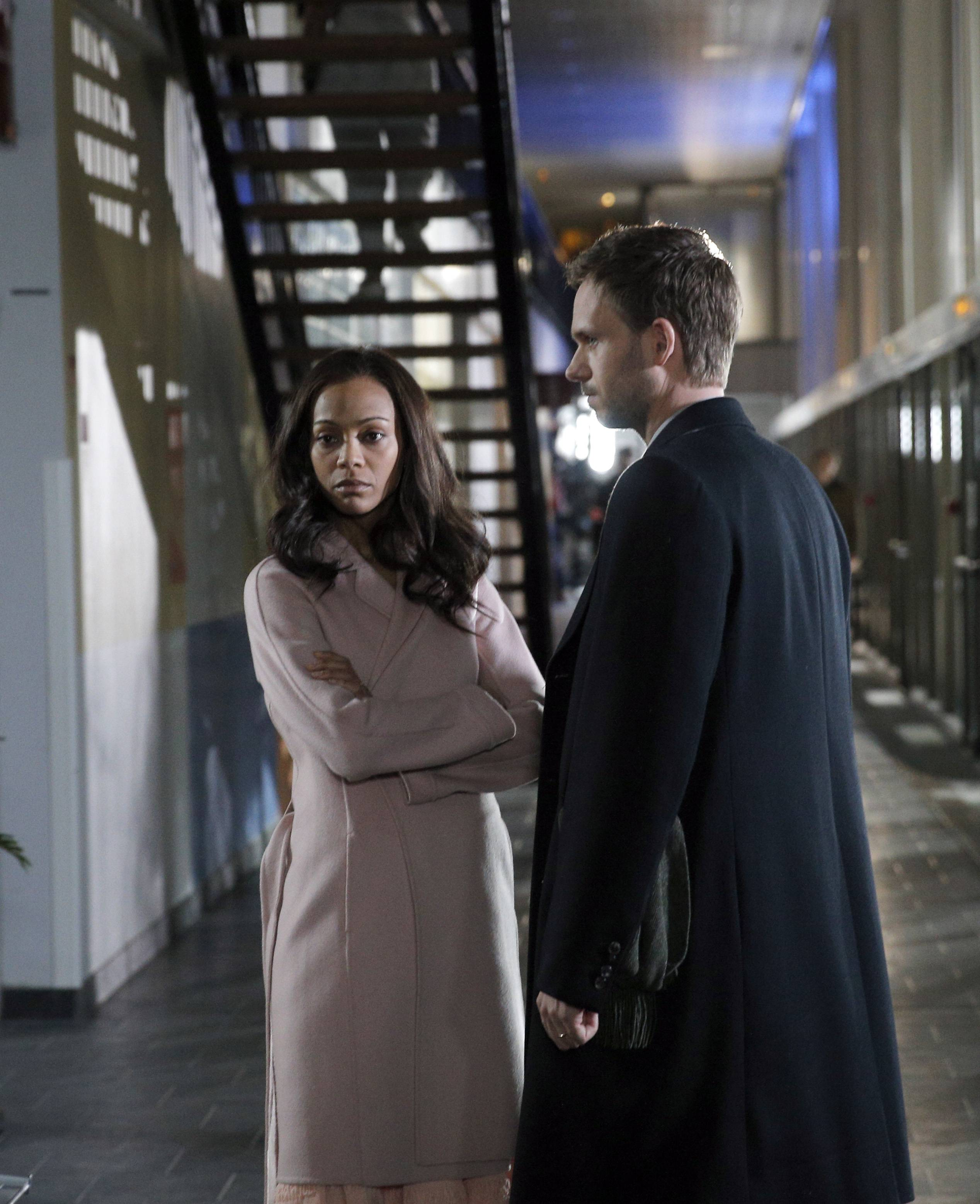 "Zoe Saldana, left, and Patrick J. Adams star in the two-episode miniseries ""Rosemary's Baby,"" adapted from Ira Levin's 1967 book and Roman Polanski's 1968 film."