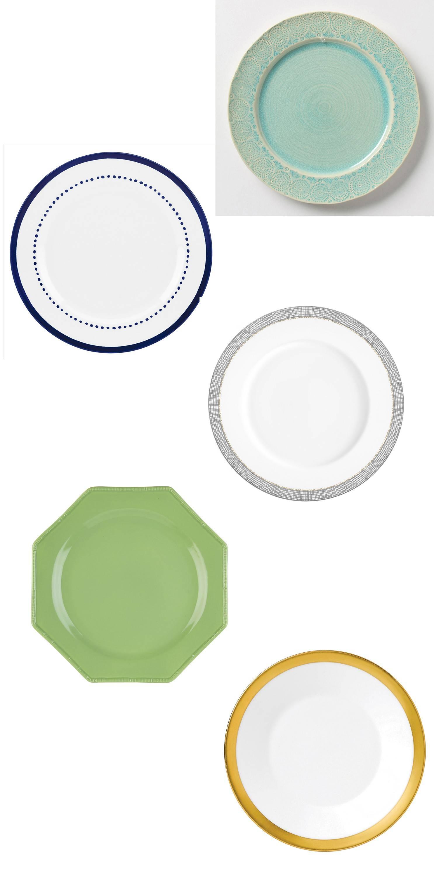 Dinnerware can elevate any meal and carries with it years of nostalgia. From top to bottom: 1-Anthrolpologie's Old-Havana Dinnerware; 2-Charlotte Street Dinner Plate; 3-Vera Wang's Gilded Weave; 4-Oscar de la Renta's Pavilion Dinner Plate; 5-Jasper Conran's Gold-Banded Plate.