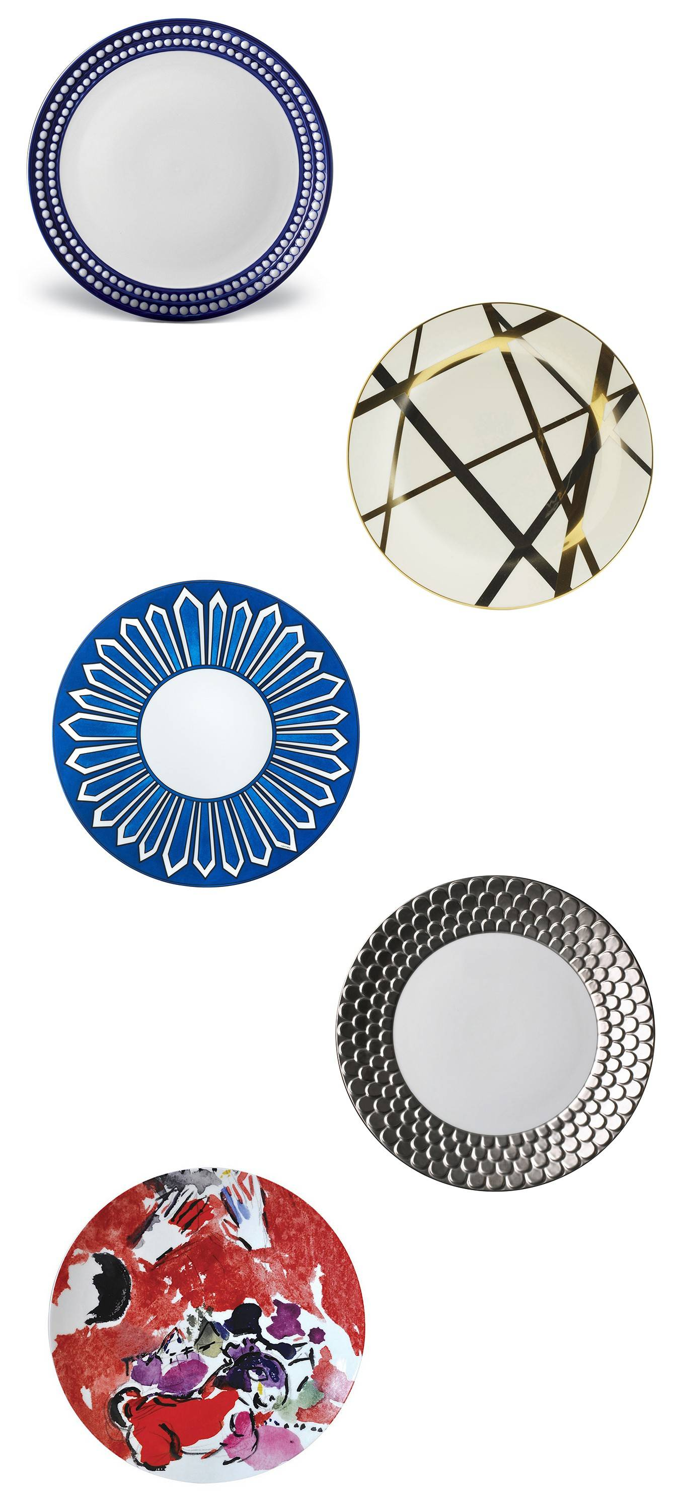 Today's dinnerware has much variety: gold and platinum edging, colorful patterns, squares and octagon shapes. From top to bottom: 6-Perlee Dinner Plate; 7-Pickard China's Mulholland dinner plate; Hermes' Bleus d'Ailleurs; Aegean Dinner Plate; Bernadaud dinner plate.