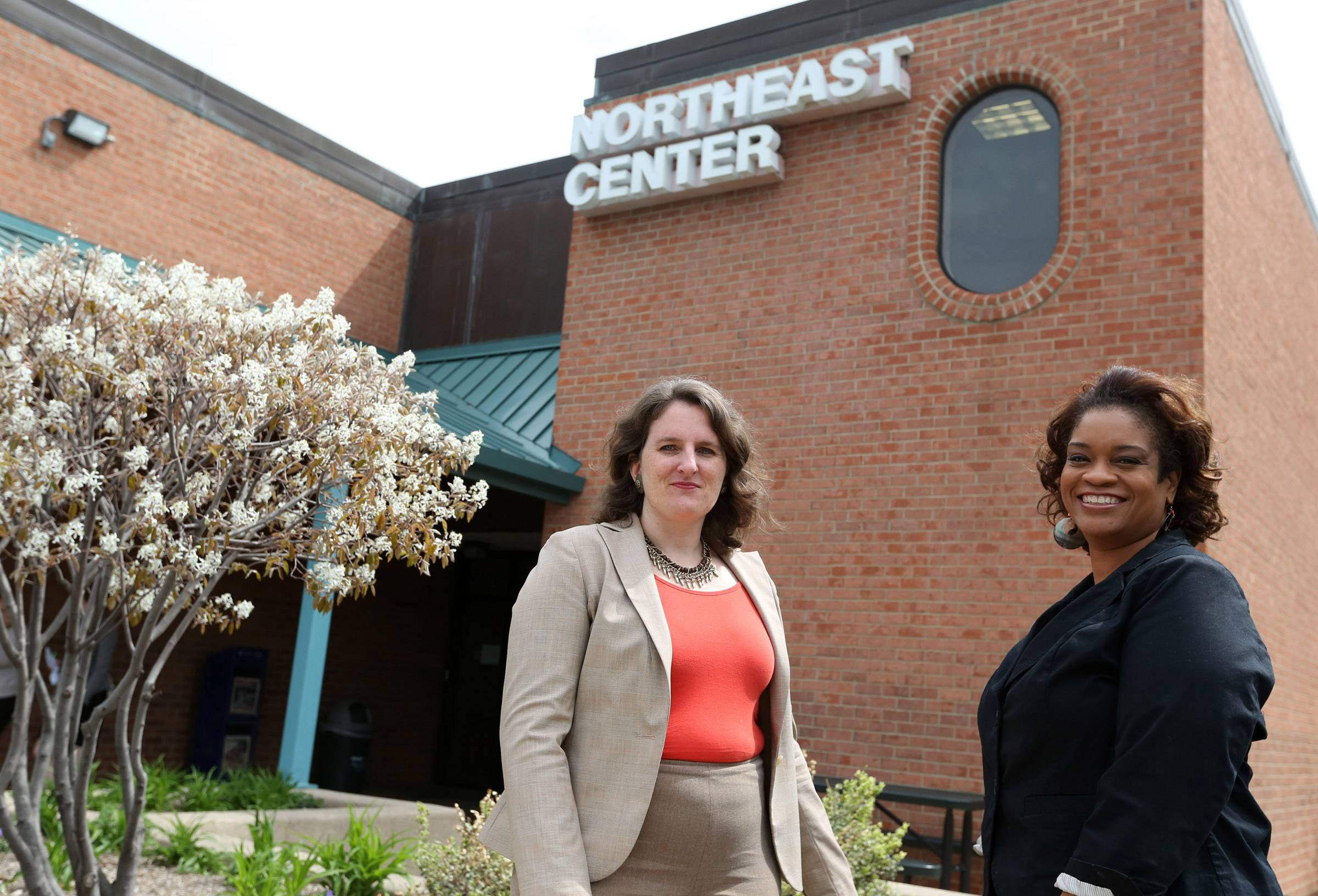 Harper College Dean Kenya Ayers, right, oversees a project to overhaul the Northeast Center in Prospect Heights. Jennifer Brennan, left is the center's new supervisor.