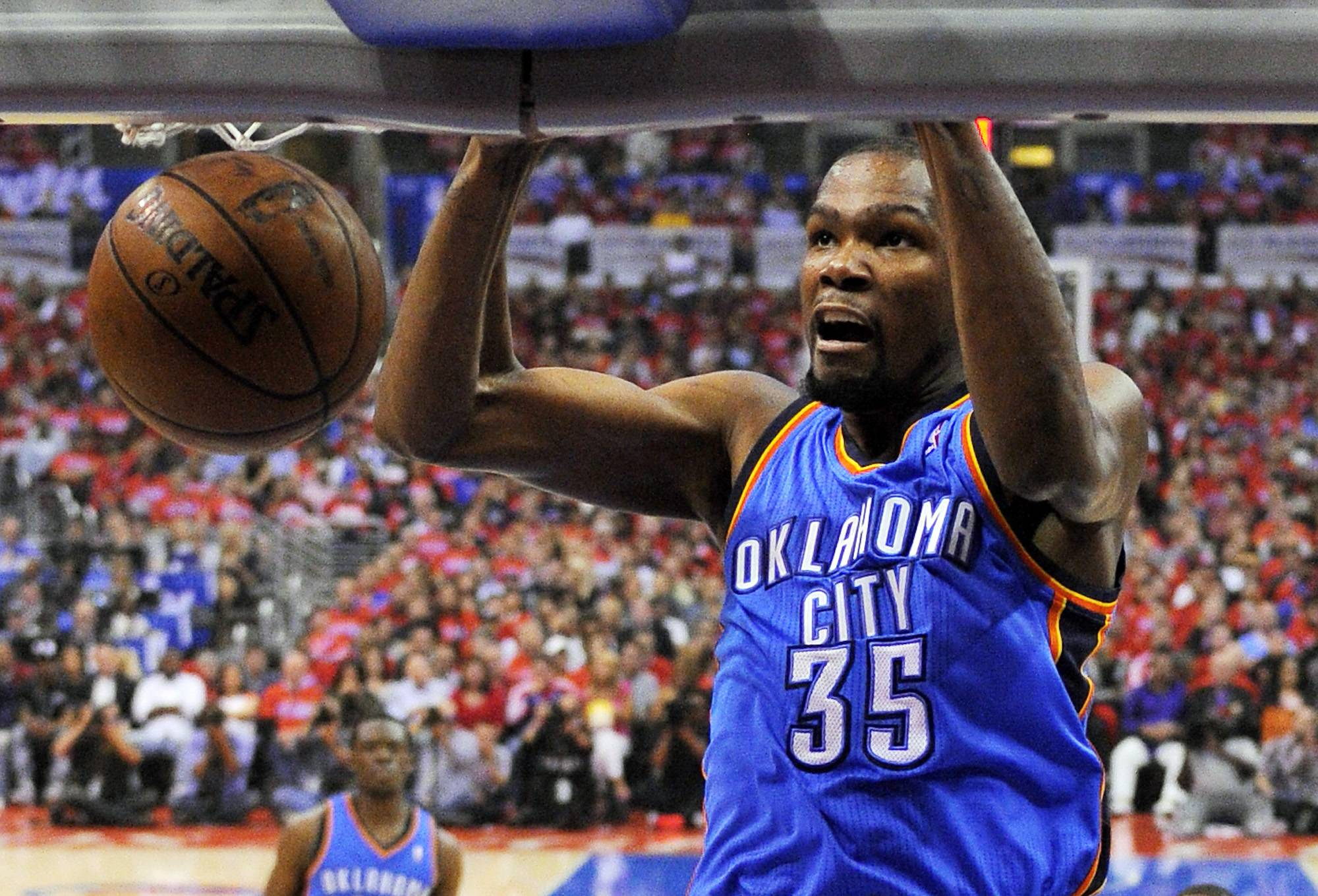 Oklahoma City Thunder forward Kevin Durant scored 36 points in Game 3 of the Western Conference semifinal NBA basketball playoff series against the Los Angeles Clippers Friday in Los Angeles. The Thunder won 118-112.