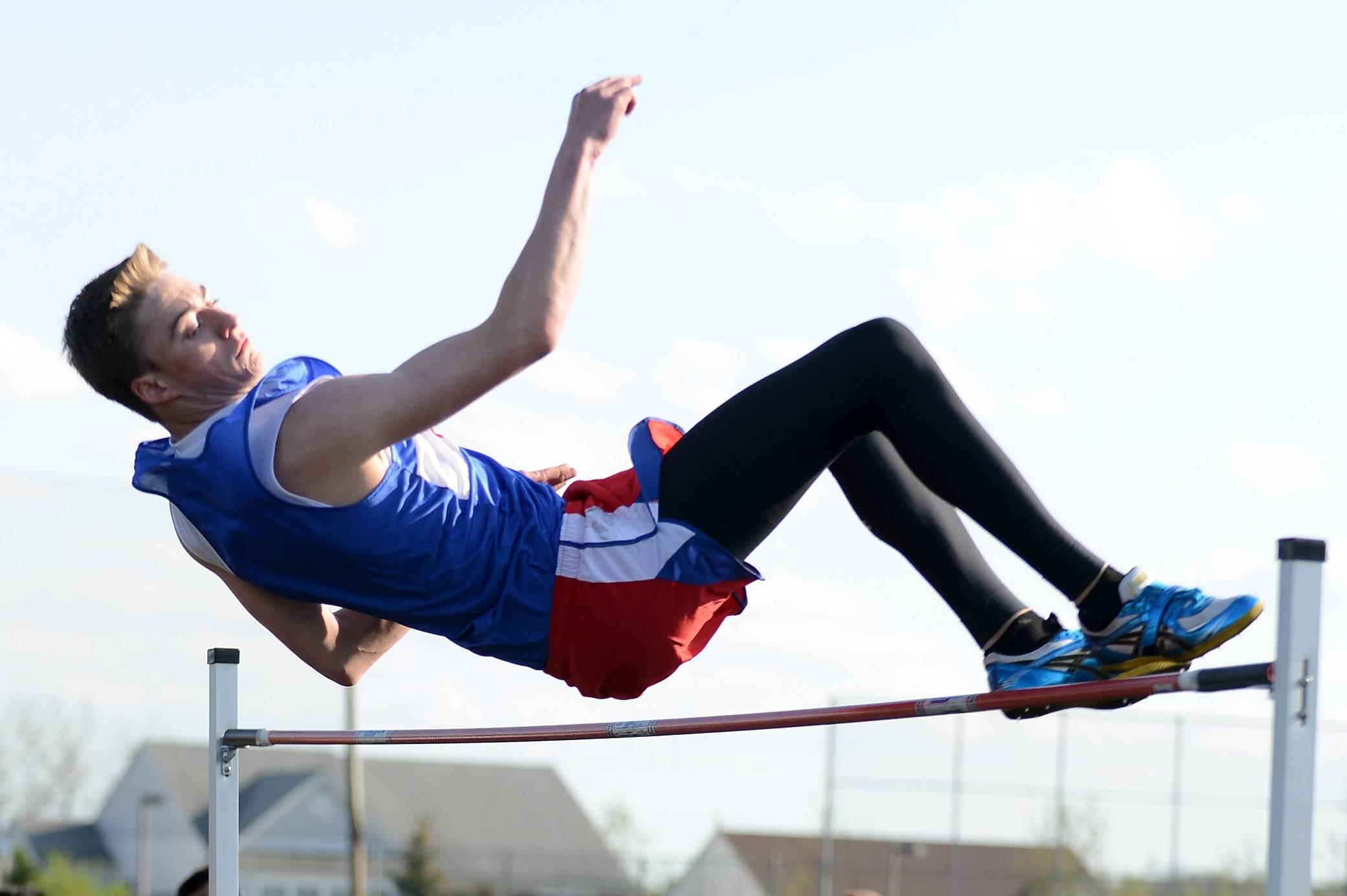 Tyler Maryanski of Marmion finished first in the high jump at the Kane County boys track meet in Streamwood Friday.