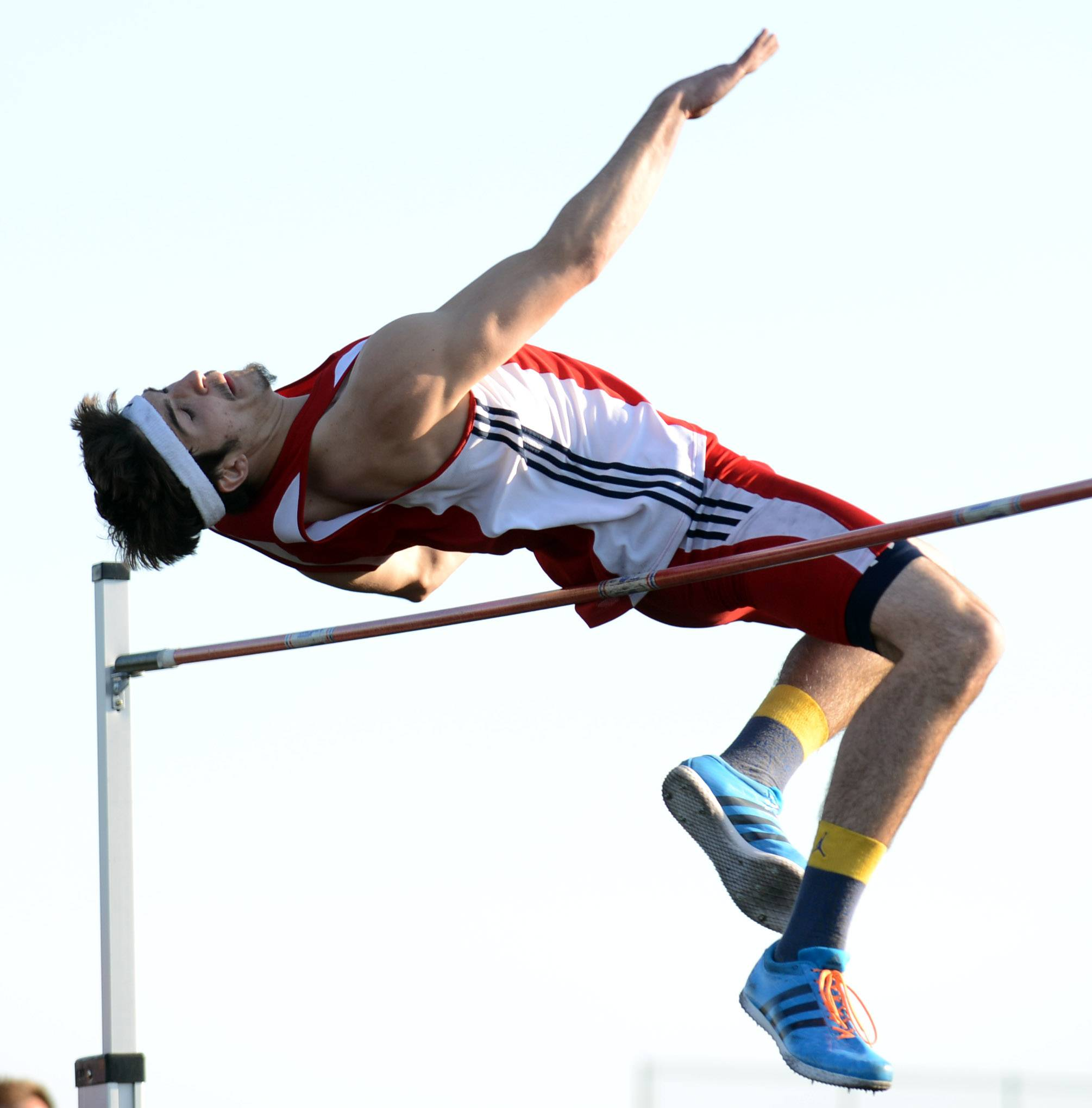 South Elgin's Kyle Kumerow finished 3rd in the high jump at the Kane County boys track meet in Streamwood Friday.