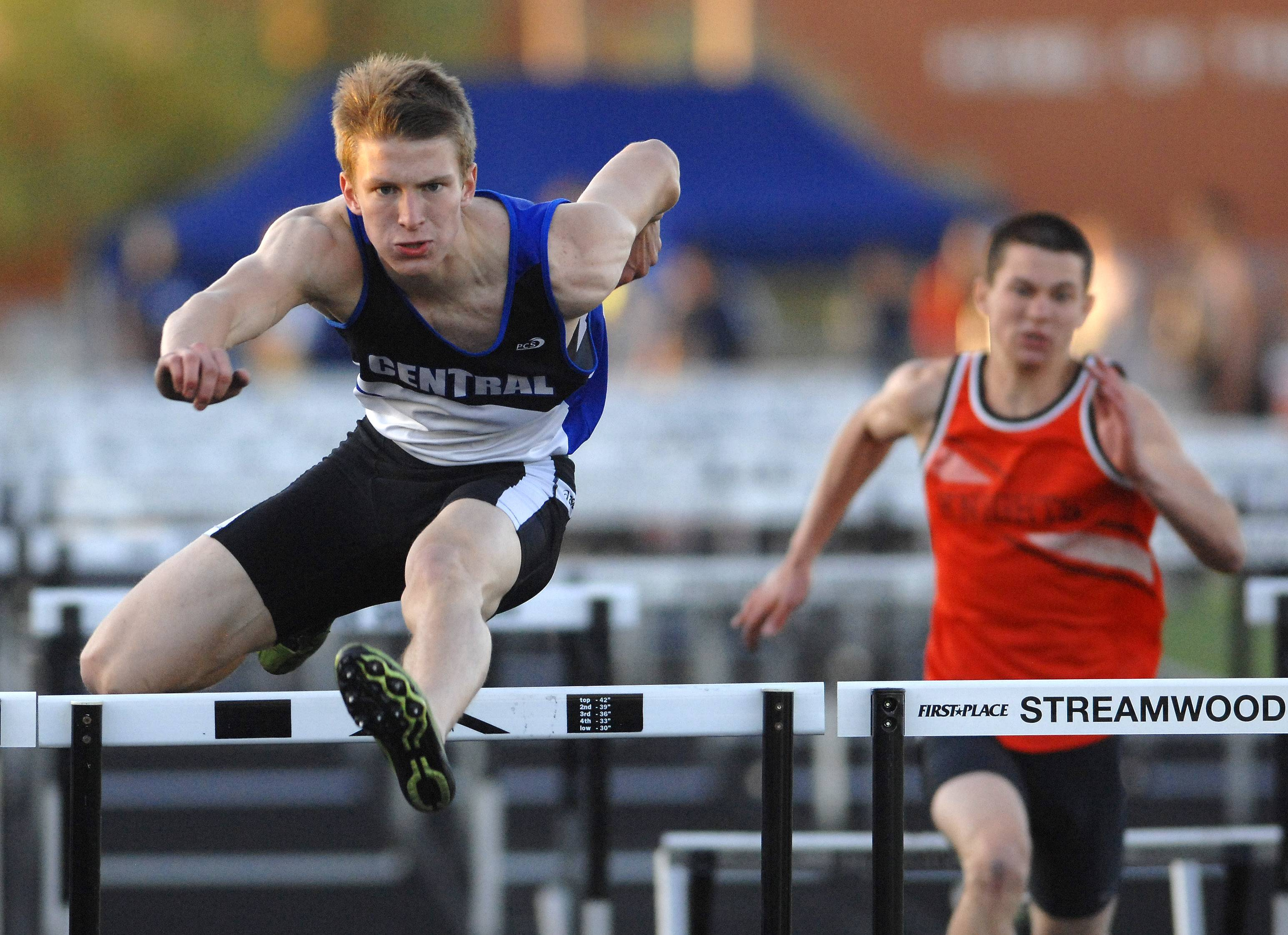 Lucas Ege of Burlington Central finished first in the 110-meter hurdles at the Kane County boys track meet in Streamwood Friday.