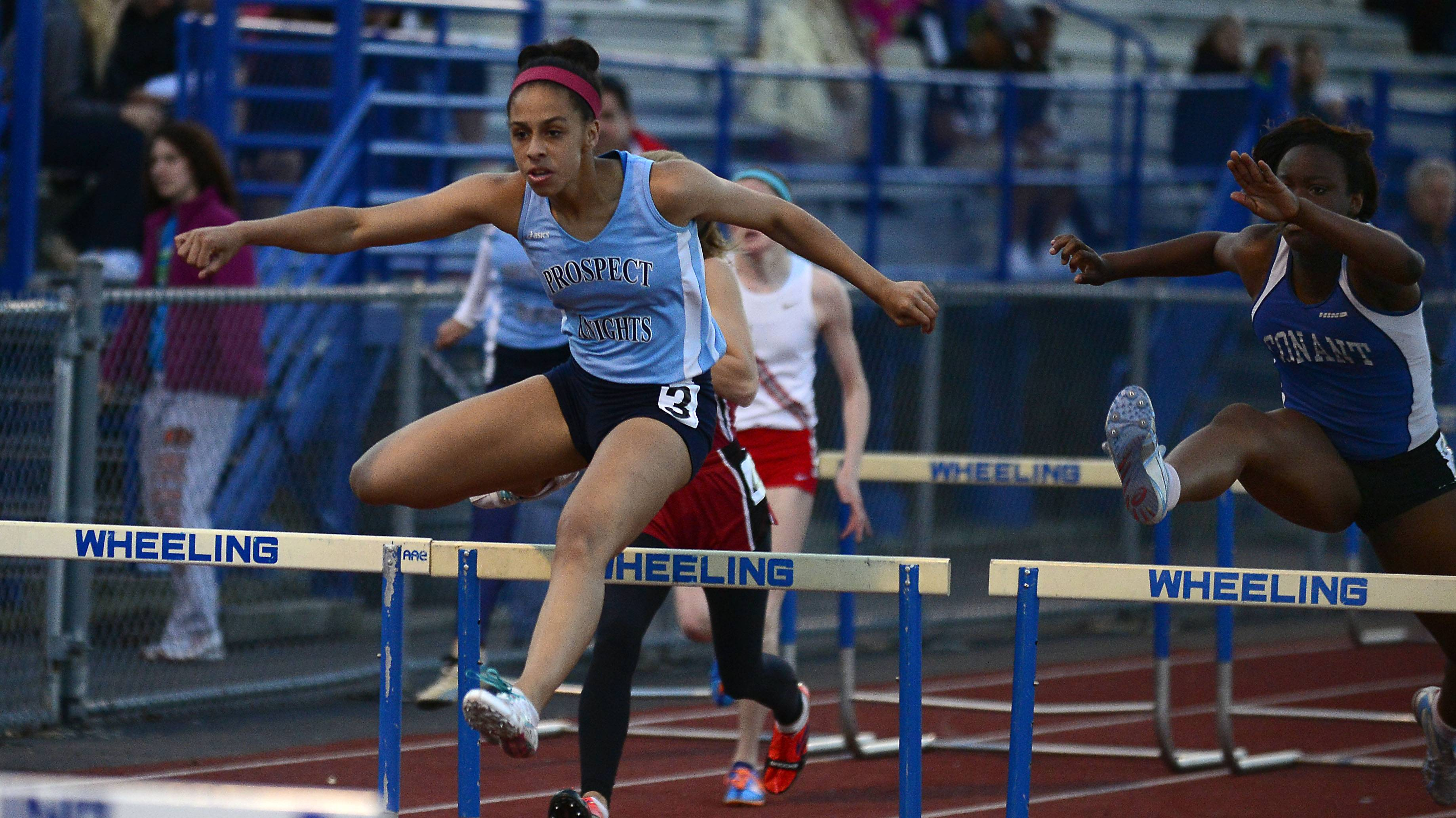 Maya Mason of Prospect competes in the 100-meter hurdles in the MSL meet at Wheeling on Friday.