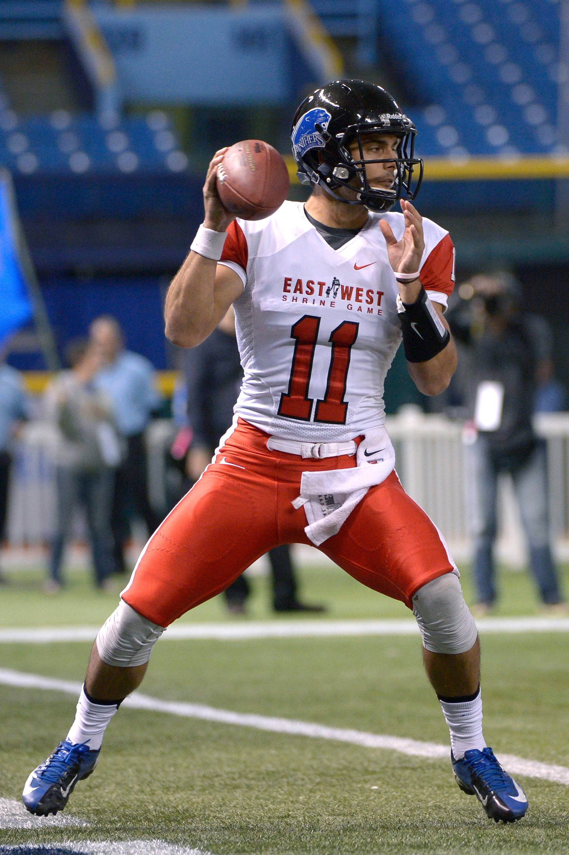 East quarterback Jimmy Garoppolo sets up to throw a pass during the second half of the East-West Shrine Classic in St. Petersburg, Fla. The East won 23-13 and Garoppolo was named the offensive MVP.