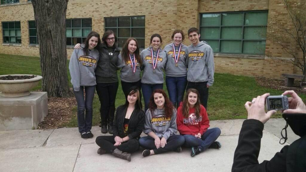 South Elgin High School team came in sixth at IHSA State Journalism Contest. Pictured are, first row, from left, Bethany Poe, Amber Derr, and Gina Cerrentano; and back row, Ashley Taylor, Eileen Campbell, Kayla Brown, Elizabeth Reiter, Rachel Christie, and Jake Dyer.
