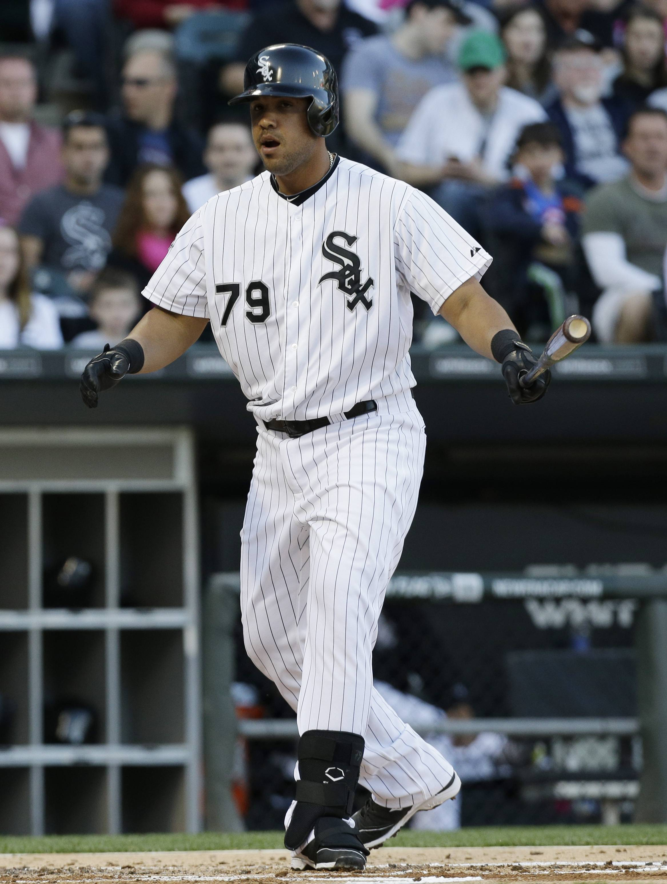 Jose Abreu reacts after striking out swinging during the first inning Saturday against the Arizona Diamondbacks in Chicago.