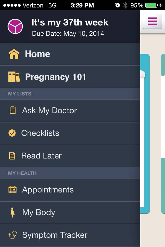 This image provided by WebMD shows the menu list for the WebMD Pregnancy app.