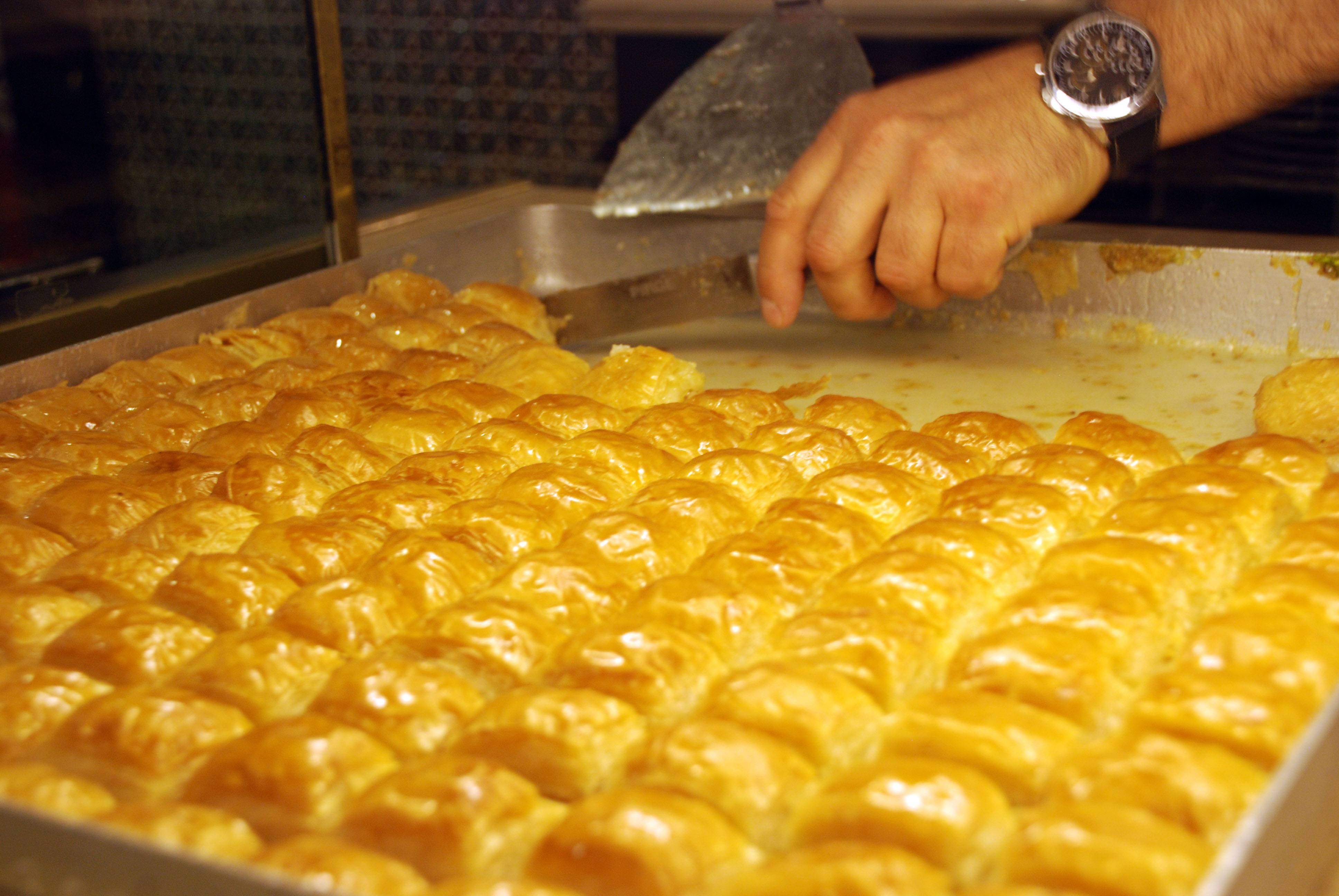 The sutlu Nuriye is a puffier, creamier version of baklava that is sold in the neighborhood of Karakoy in Istanbul, Turkey.