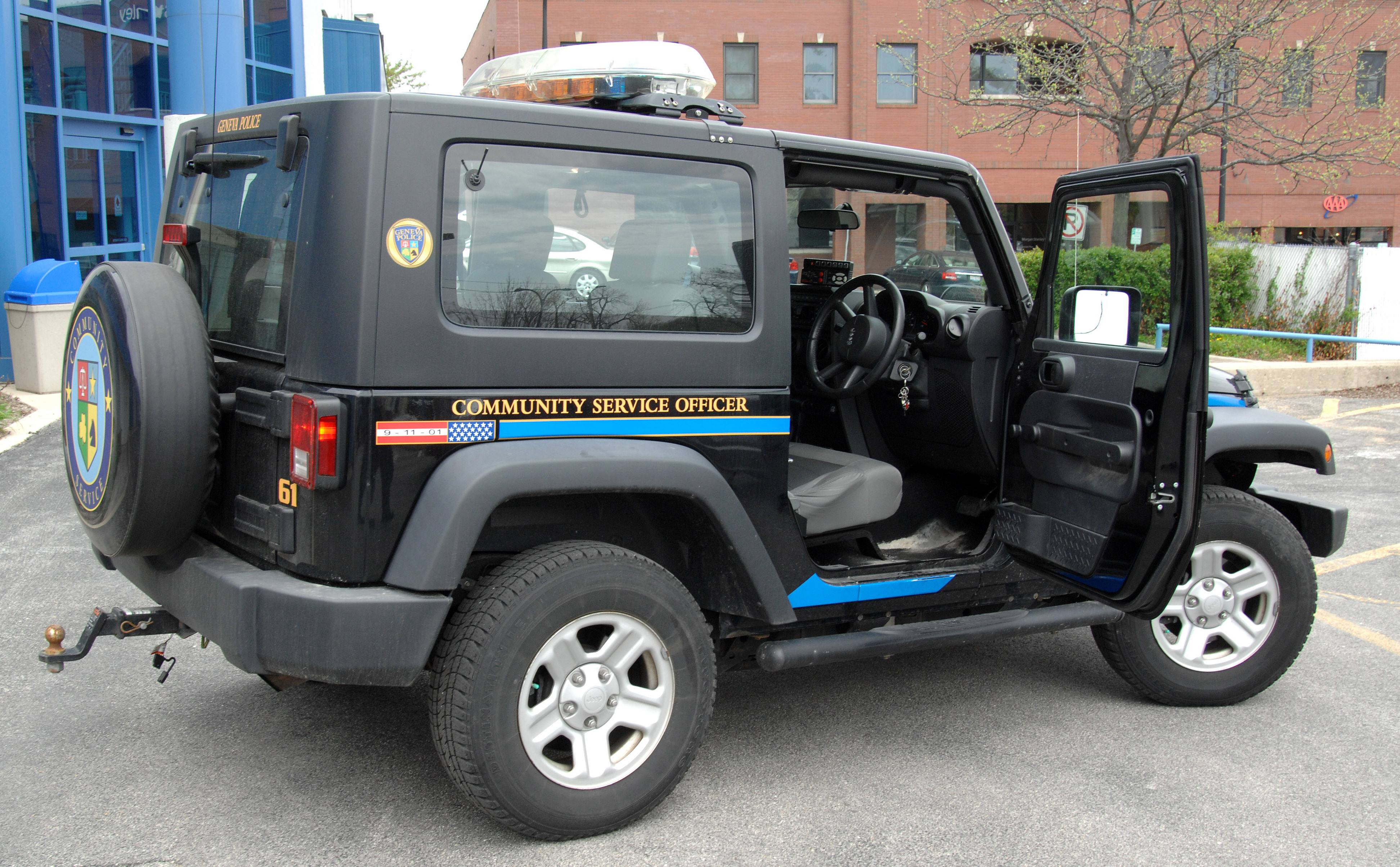 The Geneva Police Department's new Jeep has its steering wheel on the right side.
