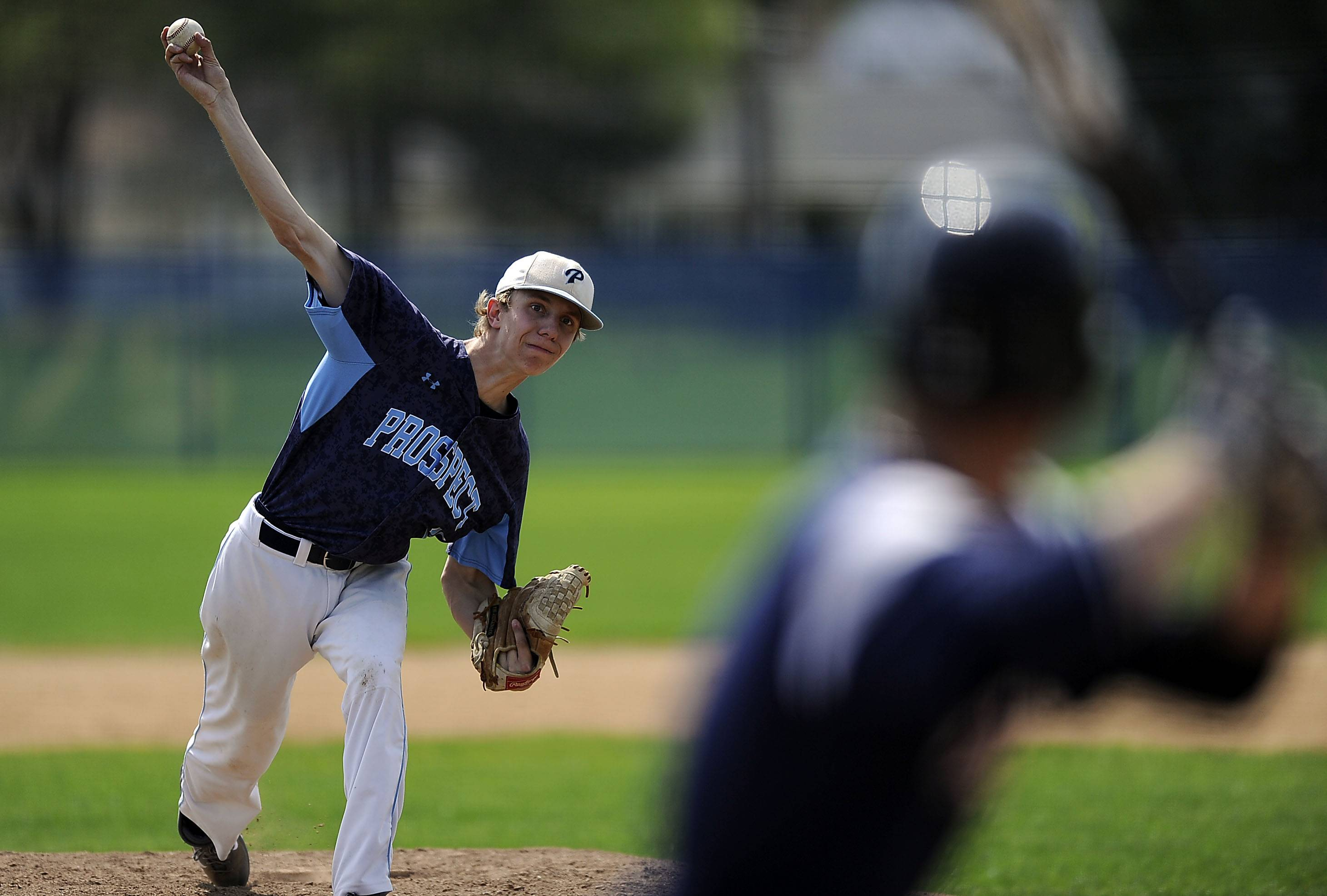 Prospect's John Loving delivers against St. Viator on Saturday.