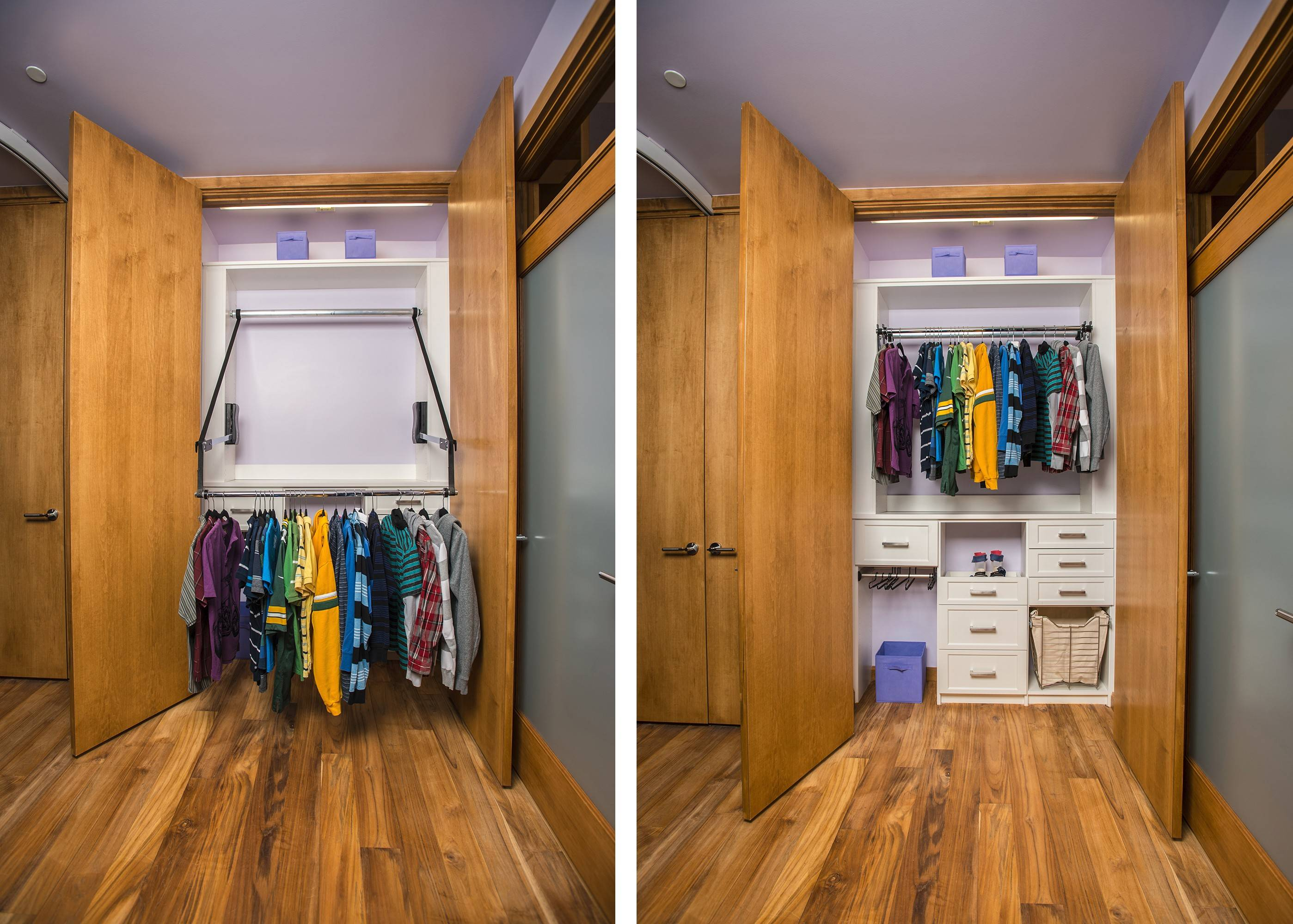 David's closet, by Todd Carter of Tailored Living, allows clothes to be lowered to within reach of a seated individual.