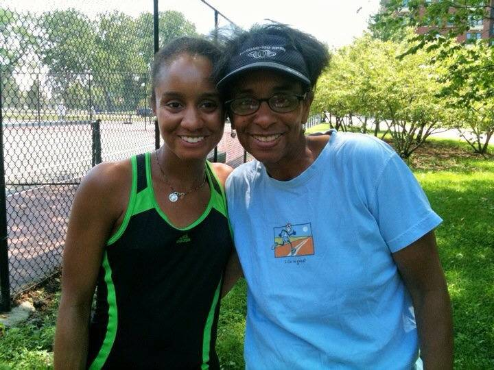 Reporter Lenore Adkins loves this pix of her mom cos they both look happy, healthy & ready to play tennis! This photo was shot a couple of years back at a Chicago tennis court. I had been playing with my best friend when my mom decided to surprise us.