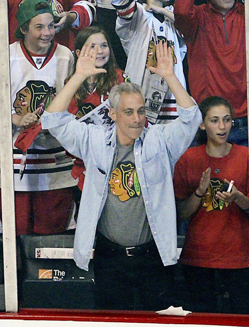 Chicago Mayor Rahm Emanuel celebrates the Blackhawks first goal in the second period.