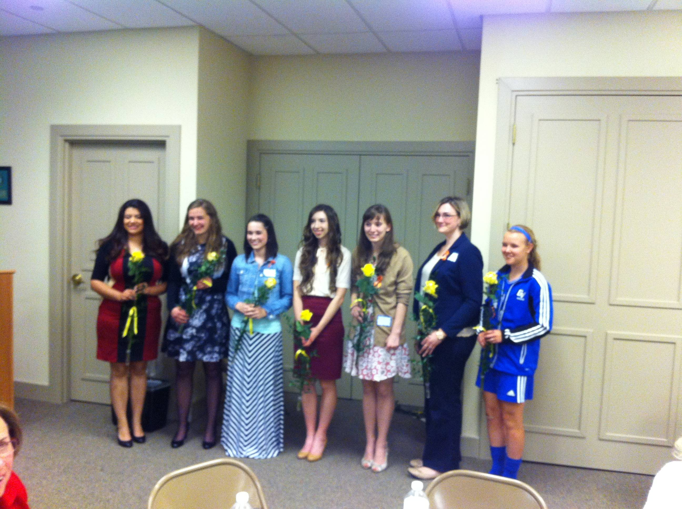 The 2014 Zonta Club scholarship winners include, from left, Mayra Loera, Madeline Horton, Veronica Seawall, Alexis Guttilla, Monica Zimmerman, Kristin Burke and Hallie McQueeny. Not pictured: Danielle Brown and Anastasia Mistak.