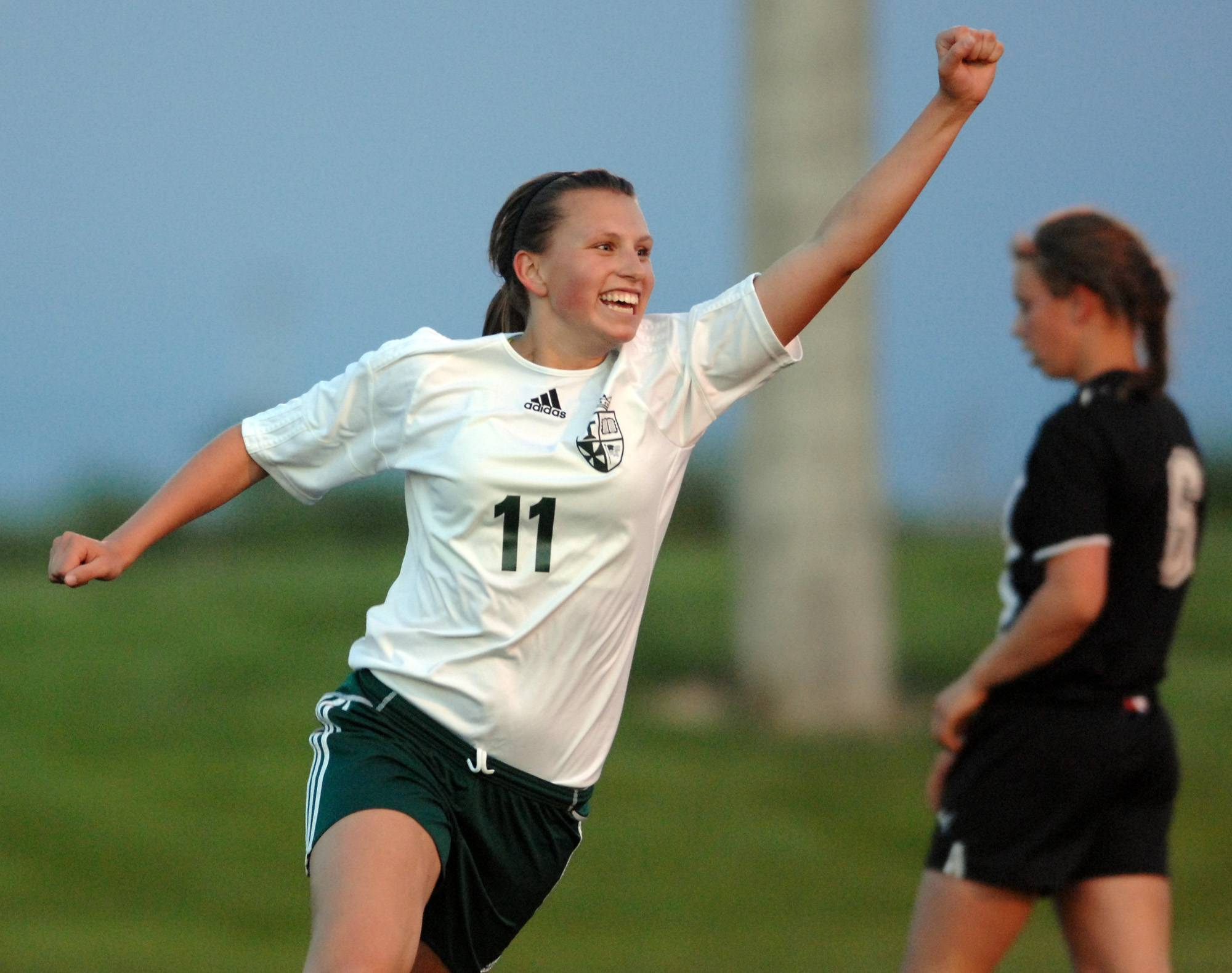 St. Edward's Allison Kruk celebrates the first of two first-half goals against Stillman Valley last year in a Class 1A sectional semifinal game in Harvard. St. Edward opens the postseason Tuesday against Elgin Academy at the Westminster Christian regional.