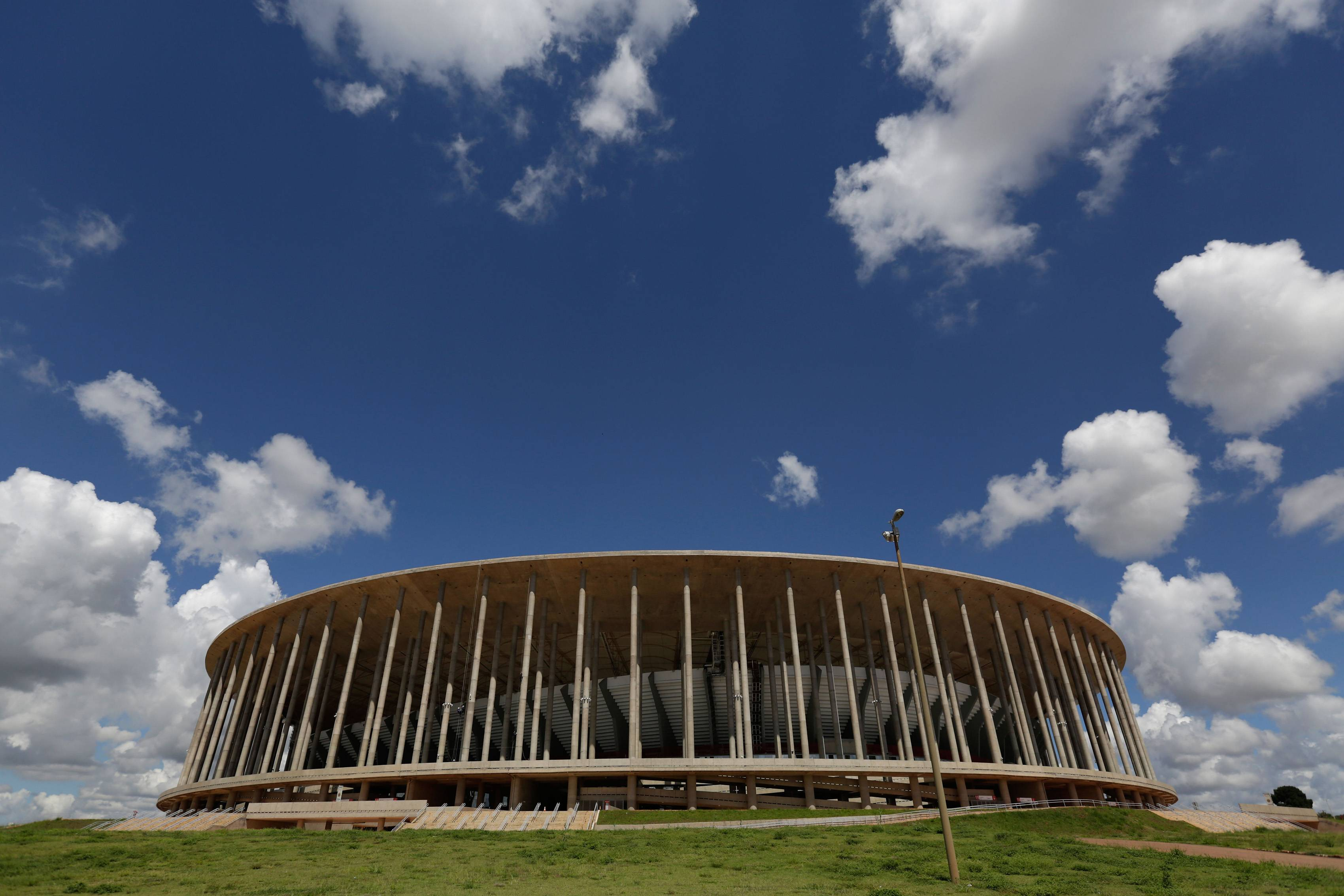 A view of the Mane Garrincha stadium, in Brasilia, Brazil. The cost of building Brasilia's World Cup stadium has nearly tripled, largely due to allegedly fraudulent billing, government auditors say. The spike in costs has made it the world's second-most expensive soccer arena, even though the city has no major professional team.