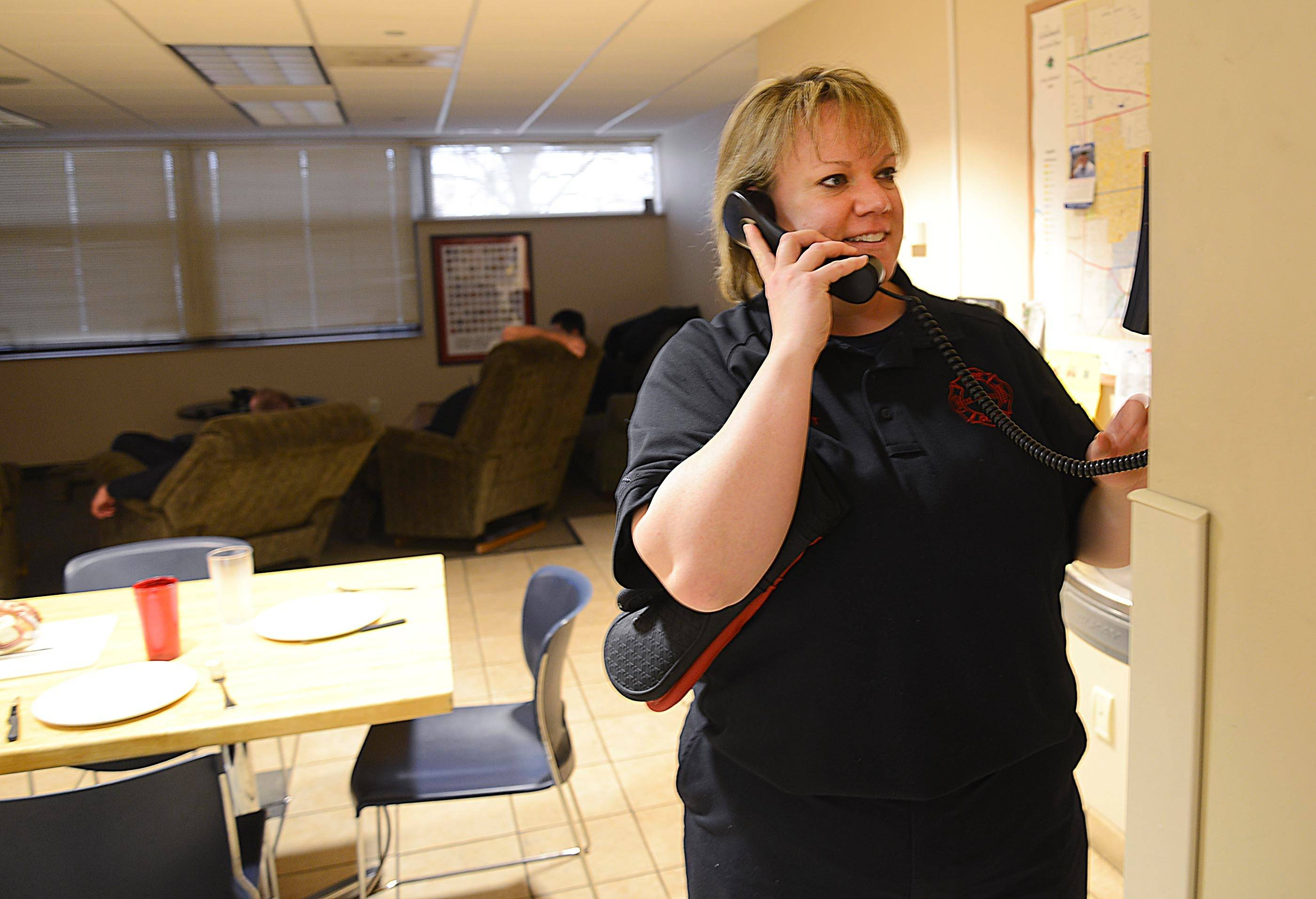 Schaumburg firefighter/paramedic Cheryl Seibert has learned strategies to lose weight while working irregular hours.
