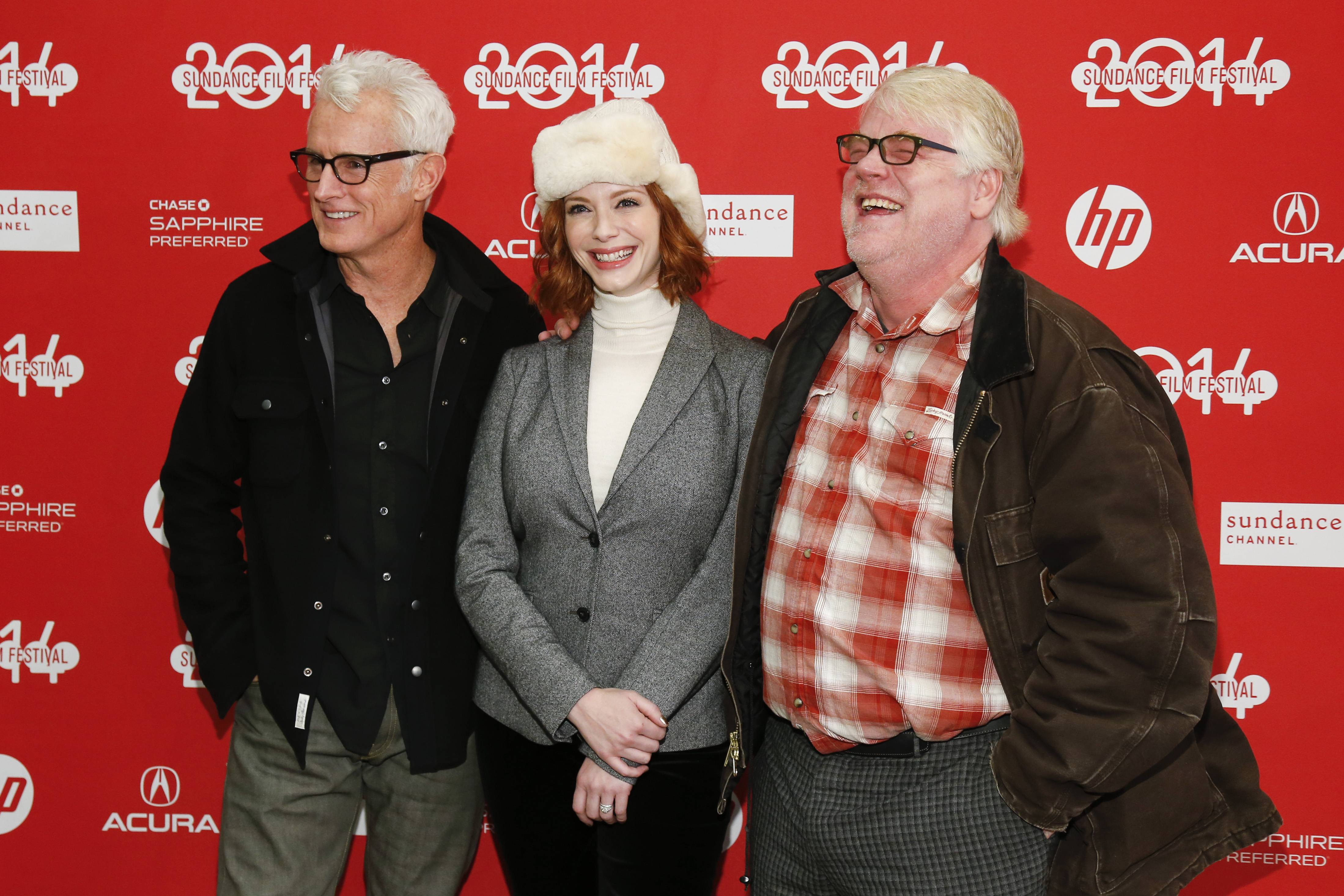 "Director John Slattery and cast members Christina Hendricks and Philip Seymour Hoffman at the premiere of the film ""God's Pocket"" during the 2014 Sundance Film Festival in Park City, Utah. The movie was one of the final performances by the late Hoffman."