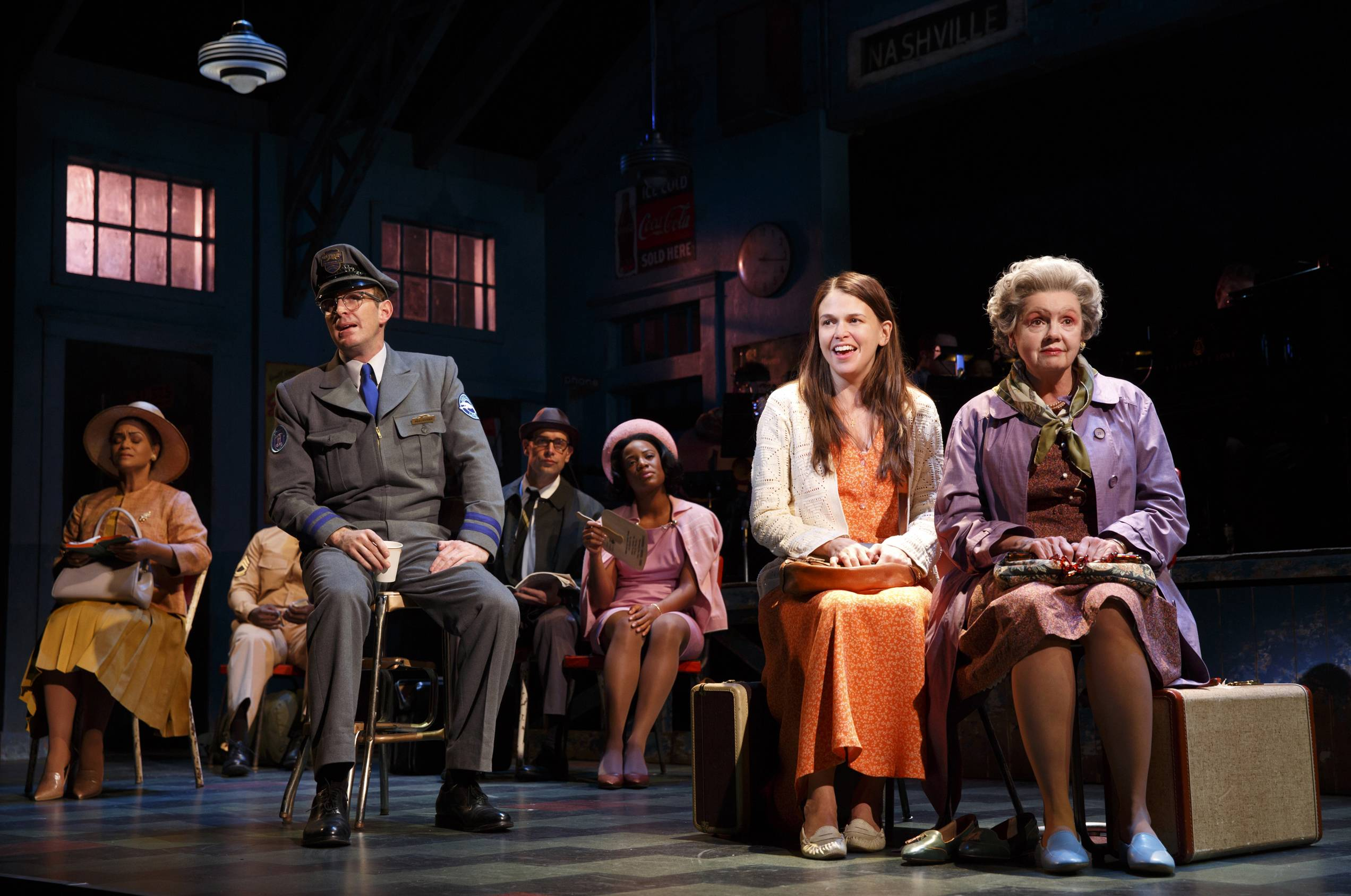 "Sutton Foster, second from right, and Annie Golden, right, during a performance of ""Violet"" in New York."