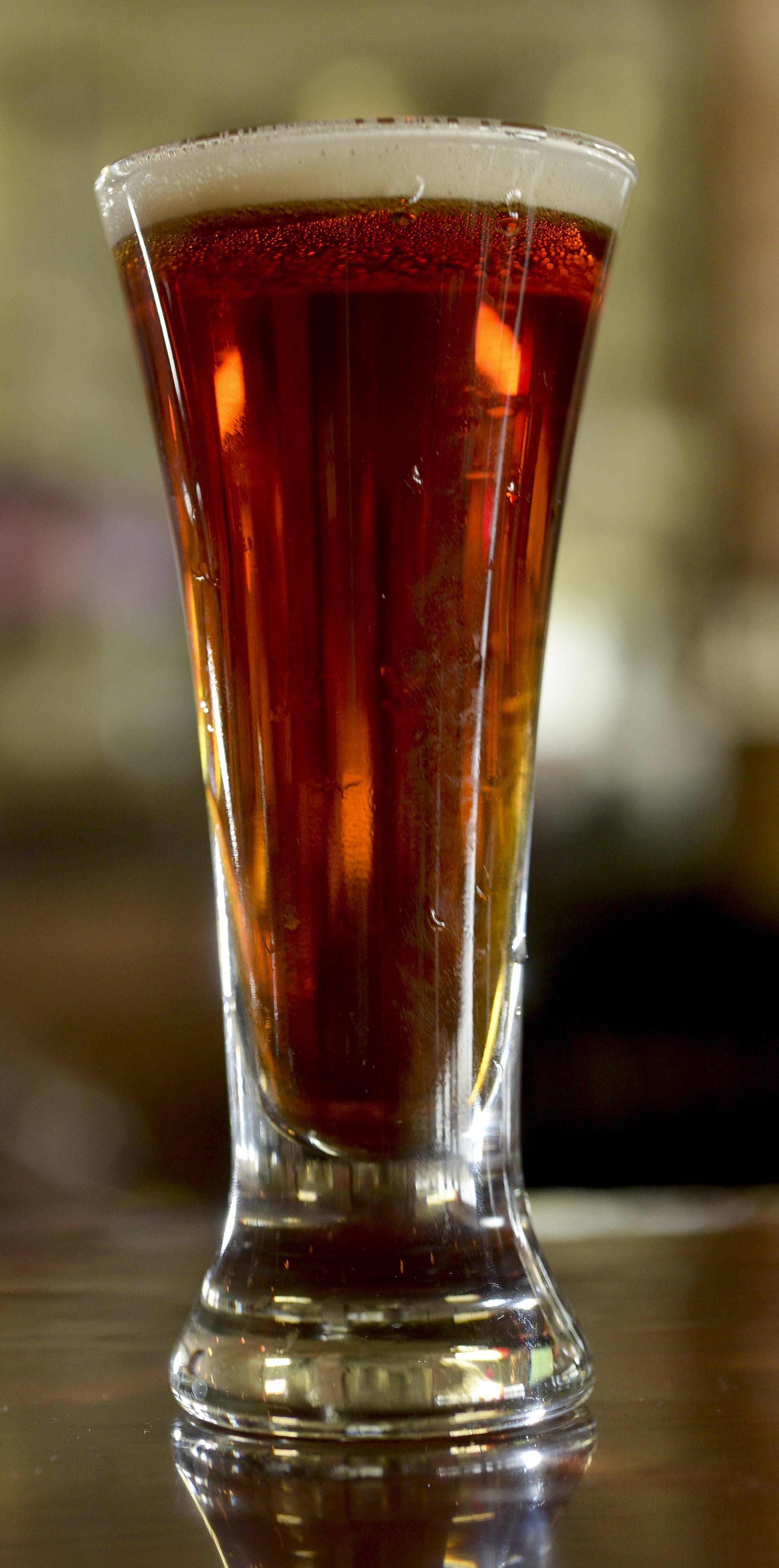 Hopvine Brewing Company Restaurant & Brewery in Aurora has a large selection of craft beers brewed on site by Brewmaster Ken McMullen, including such drafts as the Aurora Amber.