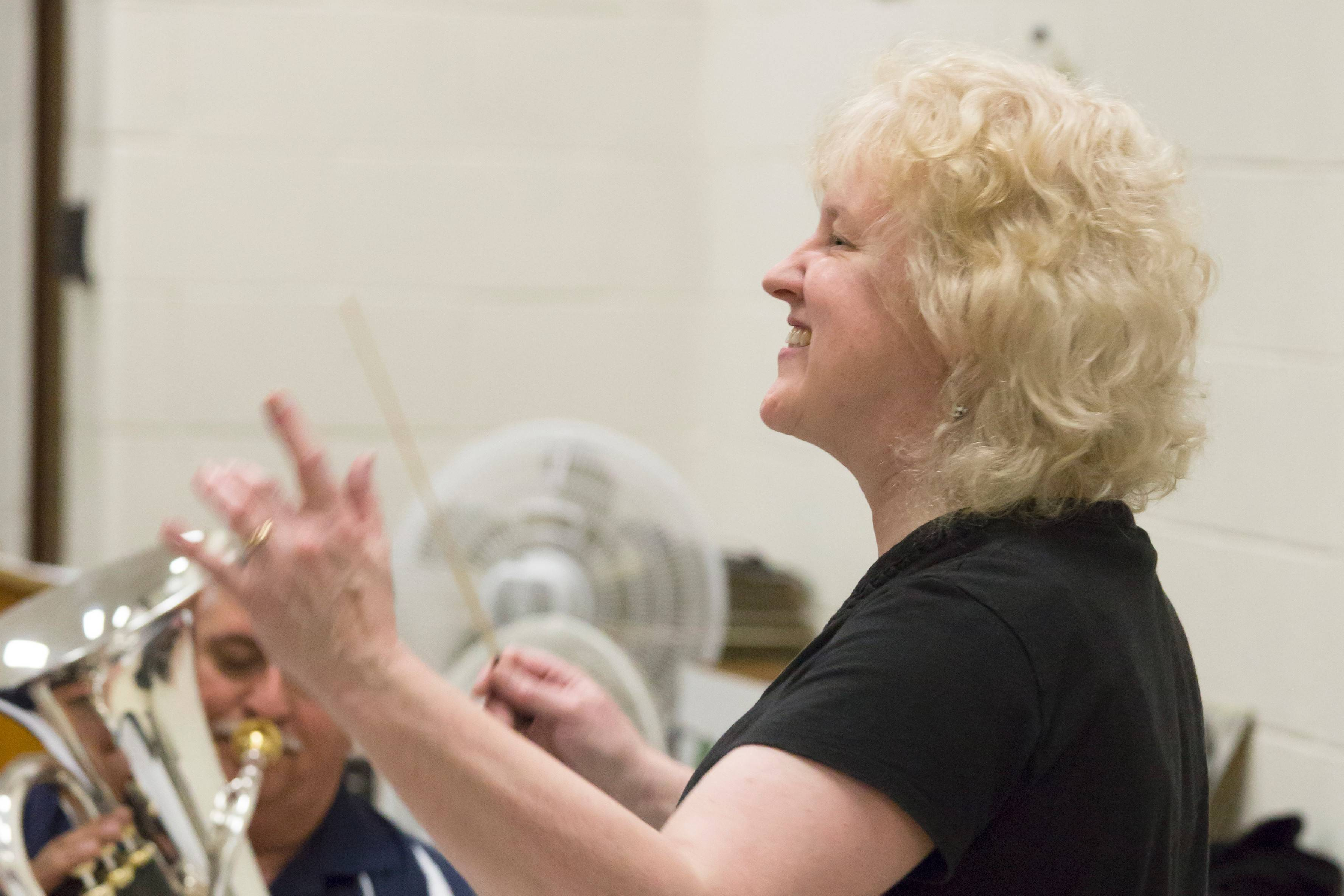 Mary Gingrich, who plays tenor horn, is the other finalist for the Prairie Brass Band conductor job. She brings a wealth of experience to the role, including many years substituting in the Chicago Symphony Orchestra.